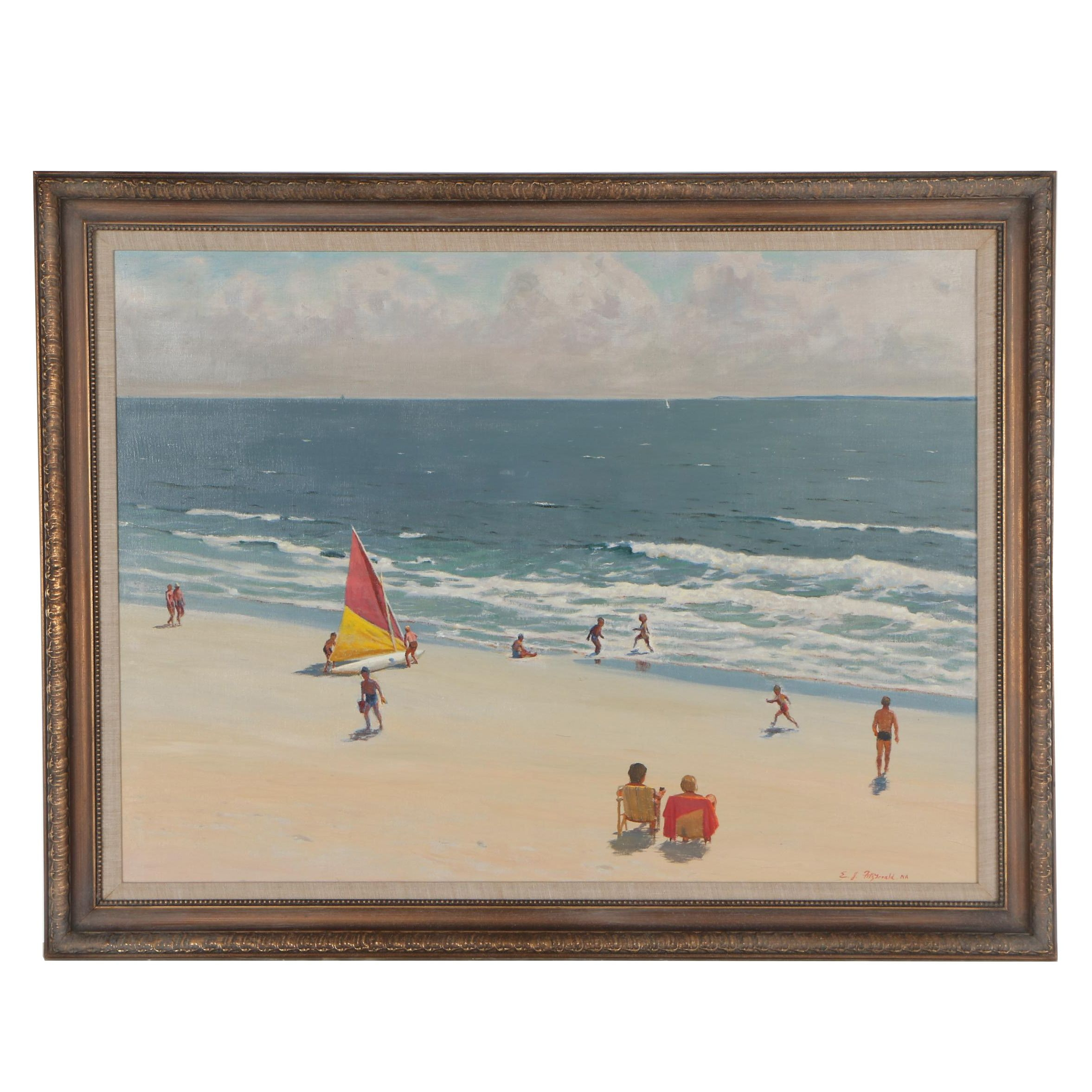 Edmond J. Fitzgerald Oil Painting of Figural Coastal Scene