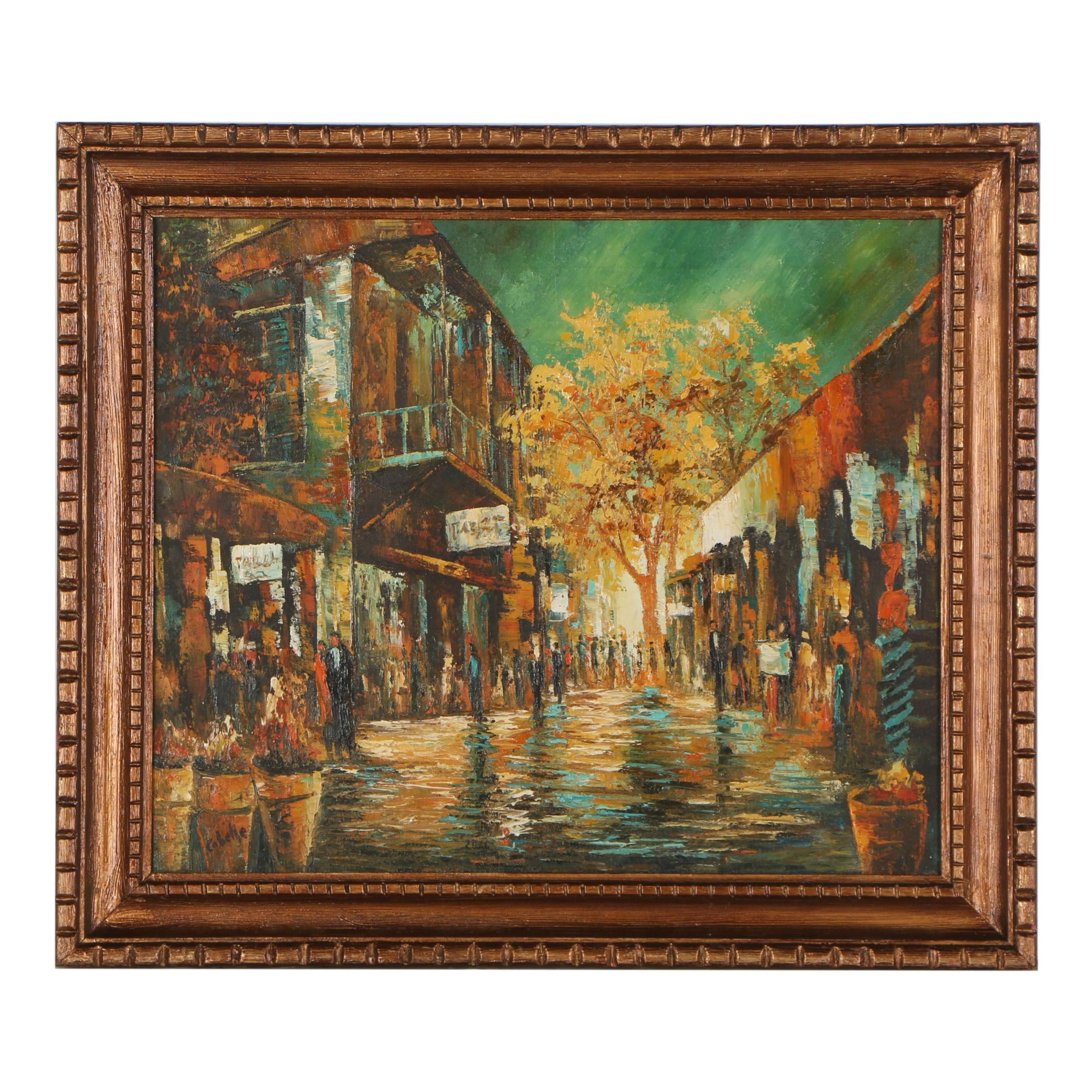Mid 20th Century Cityscape Oil Painting
