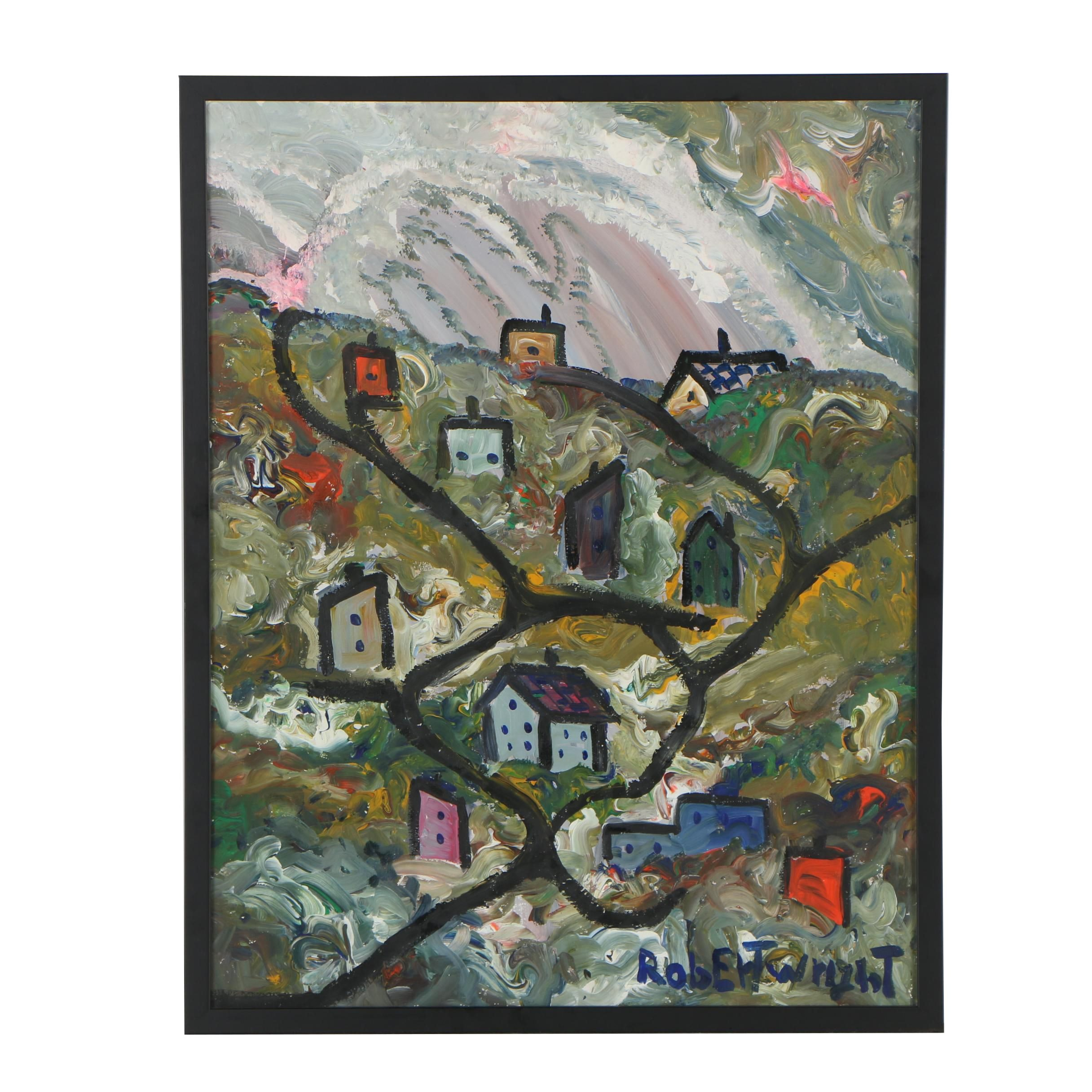 Robert Wright Folk Oil Painting of Townscape