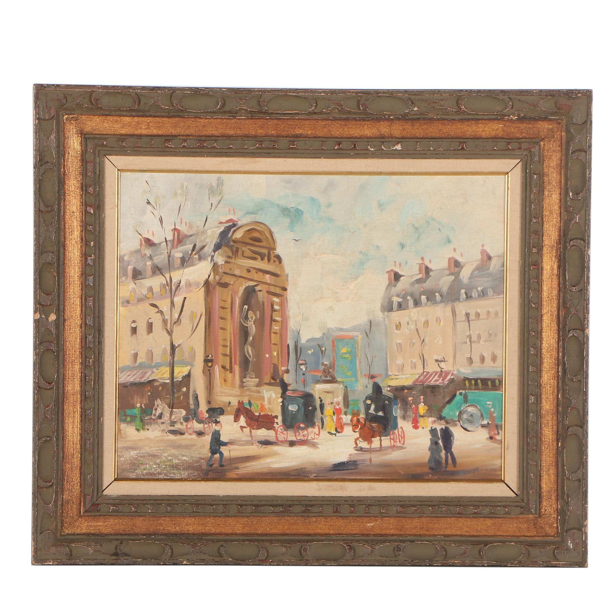 Late 20th Century Oil Painting of European Street Scene