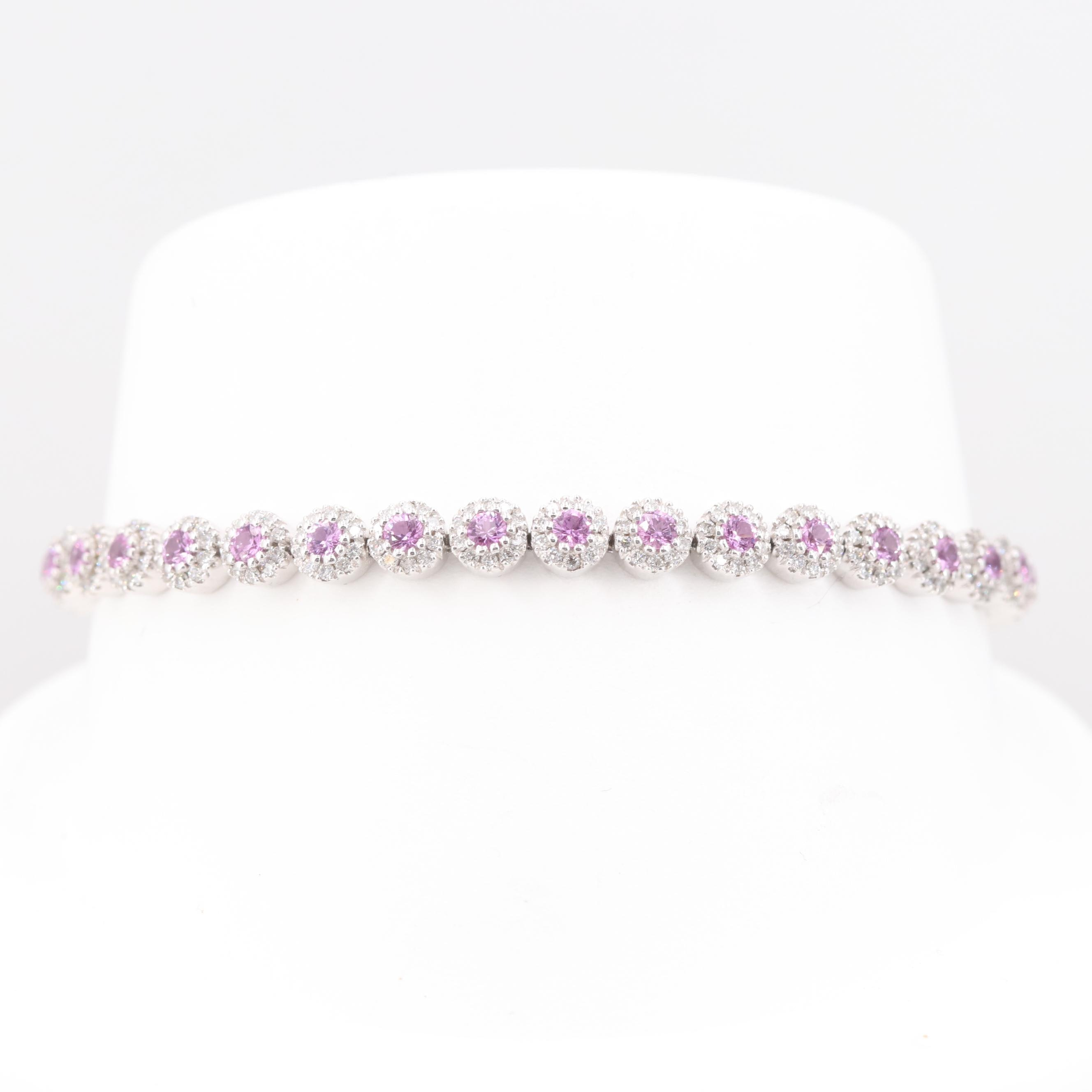 14K White Gold 2.50 CTW Pink Sapphire and 1.81 CTW Diamond Bracelet