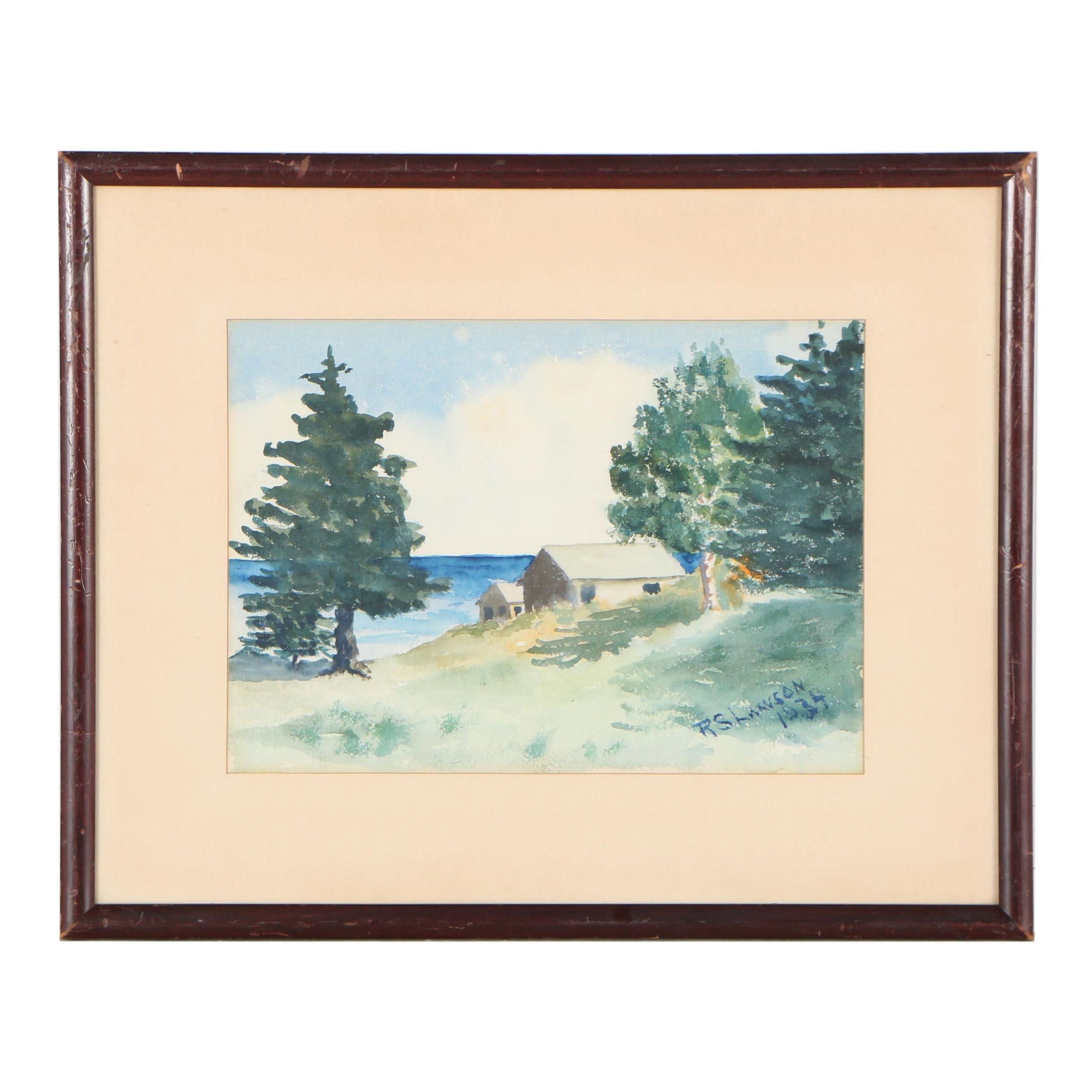 R.S. Lawson Landscape Watercolor Painting