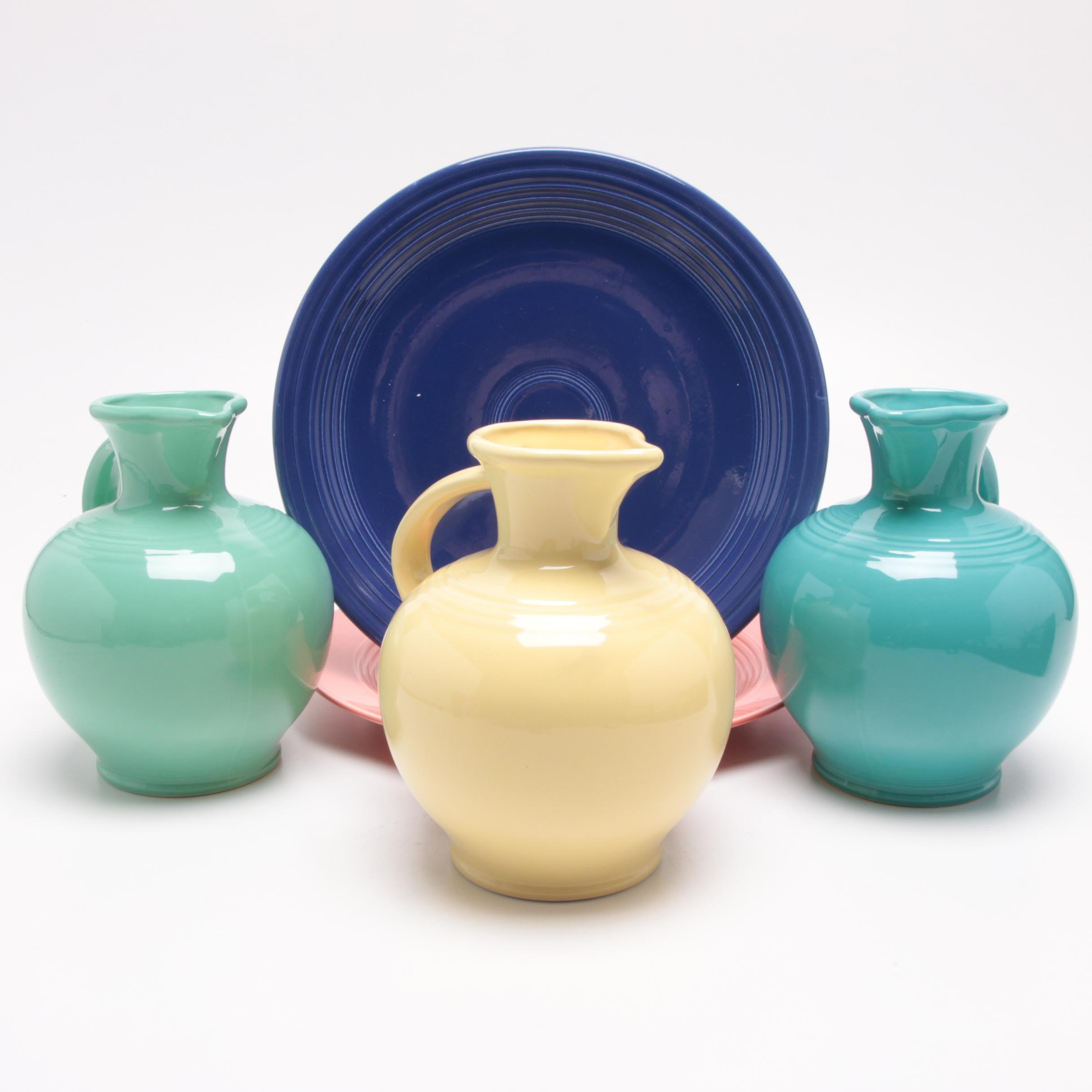"""Homer Laughlin """"Fiesta"""" Carafes and Plates, Mid-Century"""