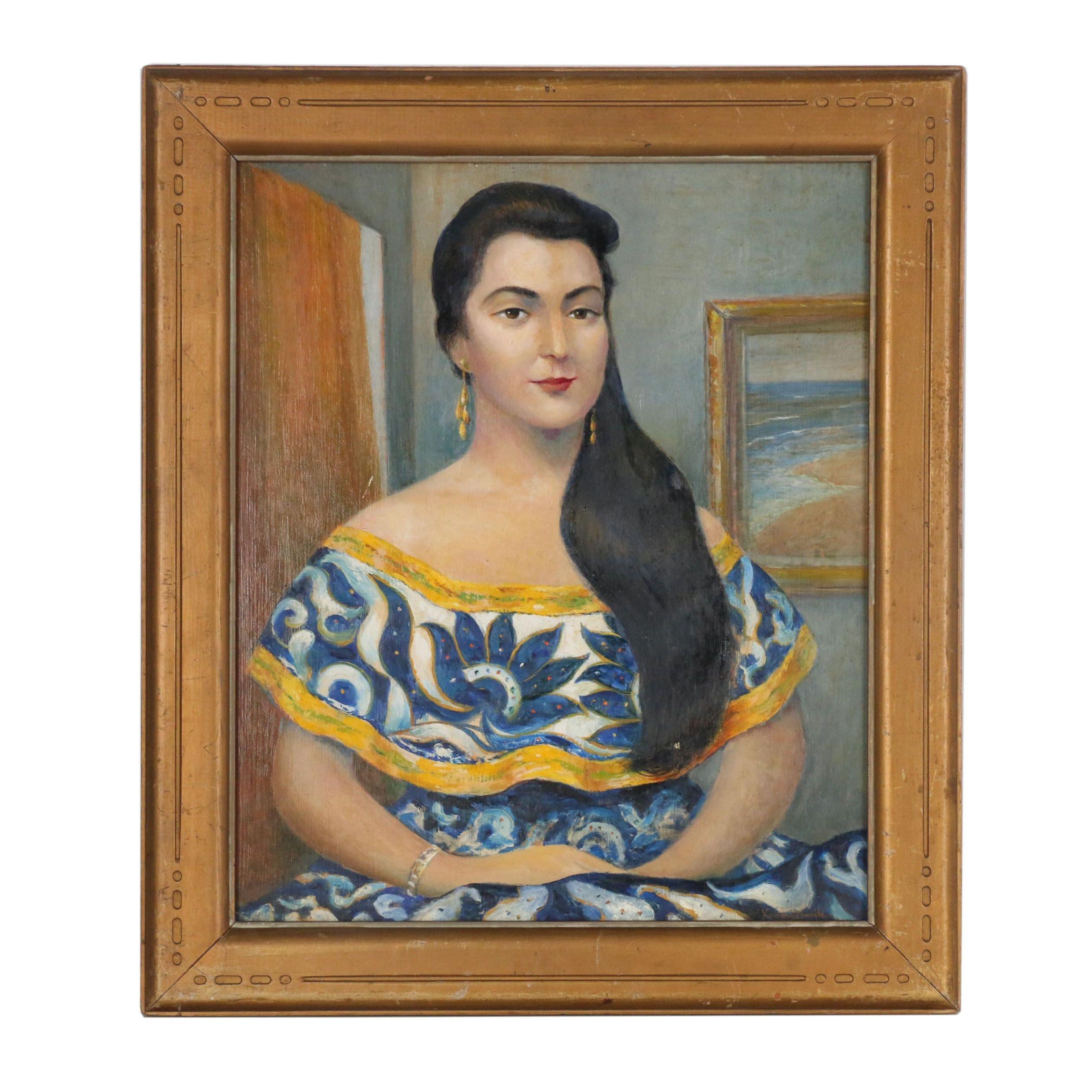 "Xavier J. Barile Oil Painting ""Beatriz Chagoya"", 1960"