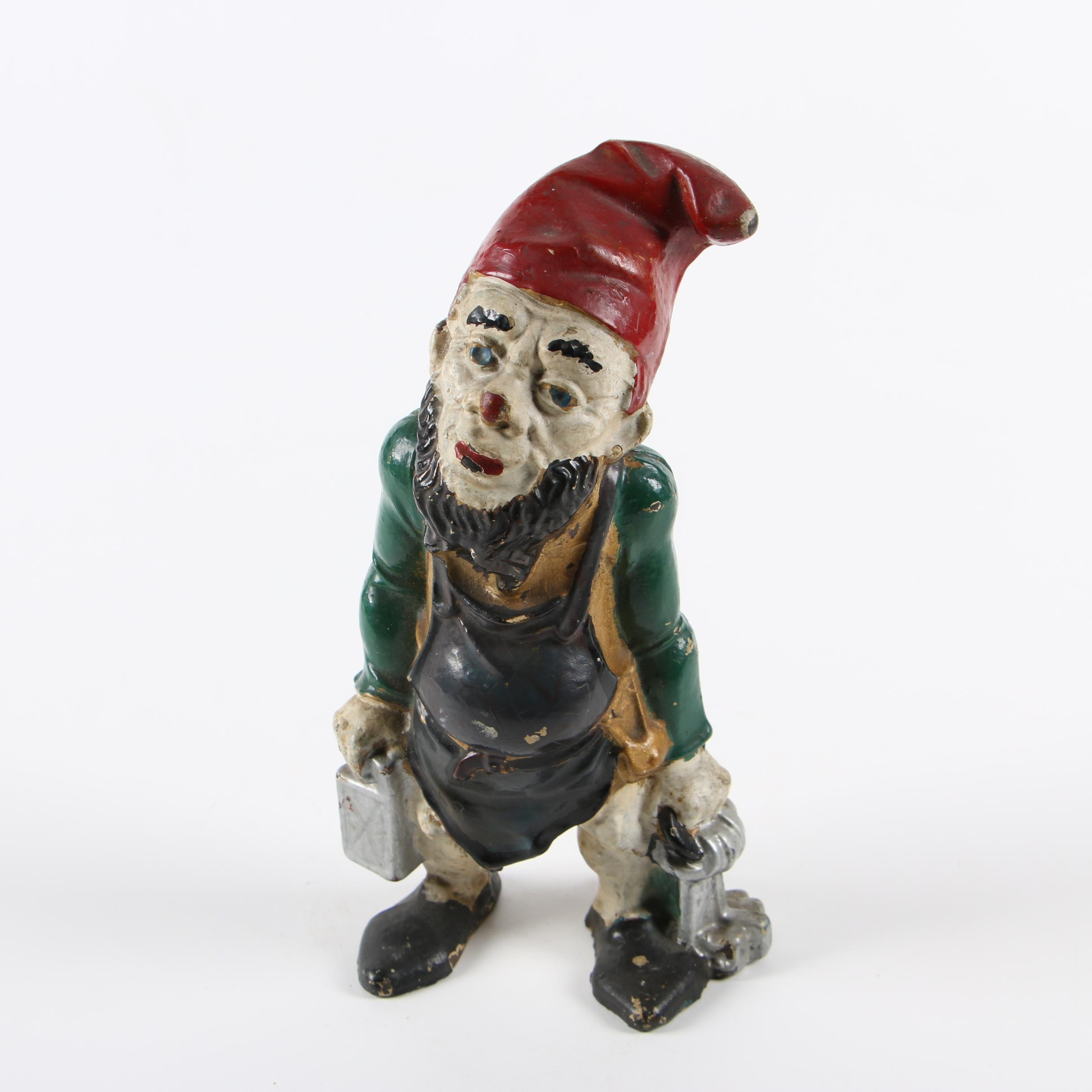 Cast Iron Polychrome Gnome Doorstop, Early 20th Century