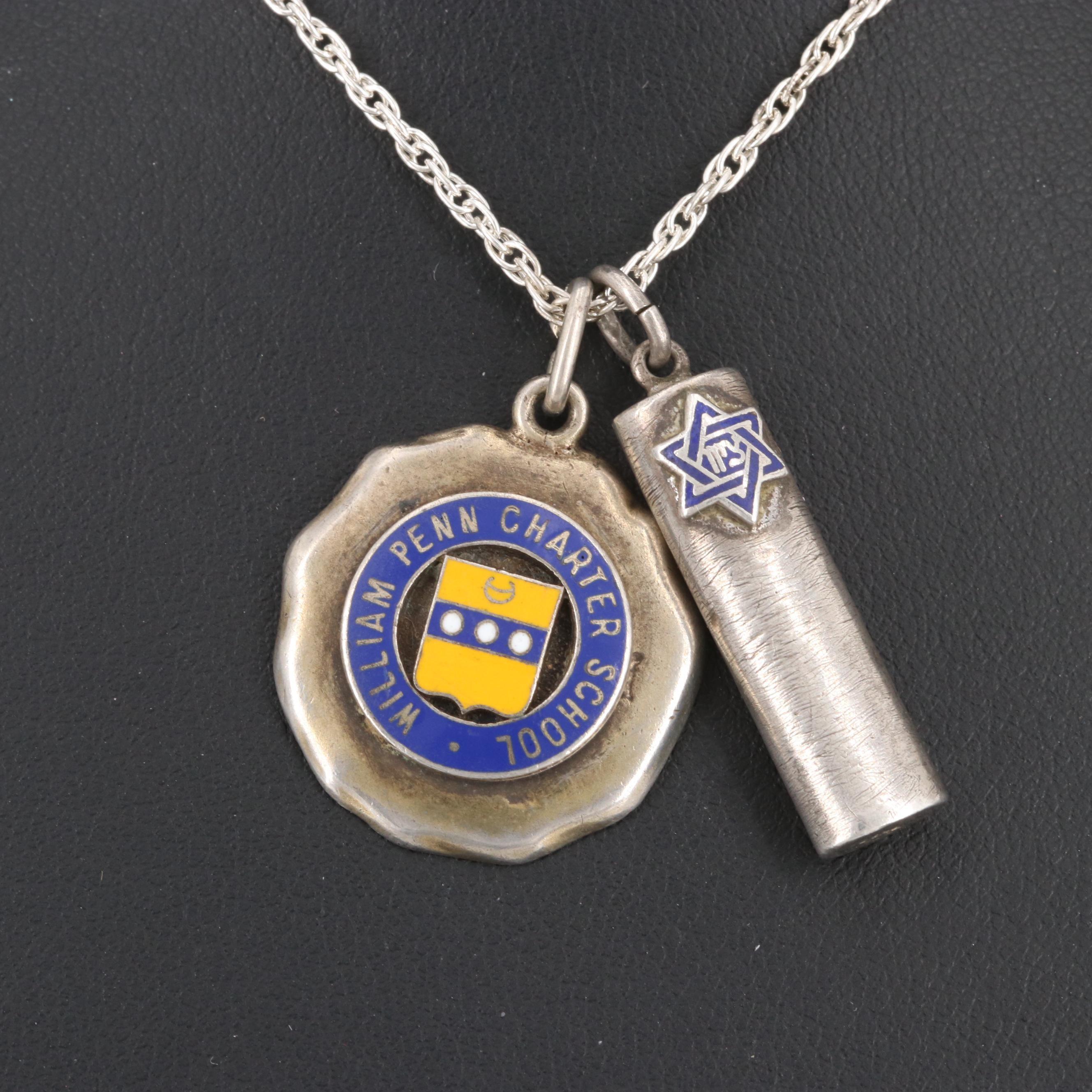 Sterling Silver Enamel Mezuzah and School Pendants on Chain Necklace