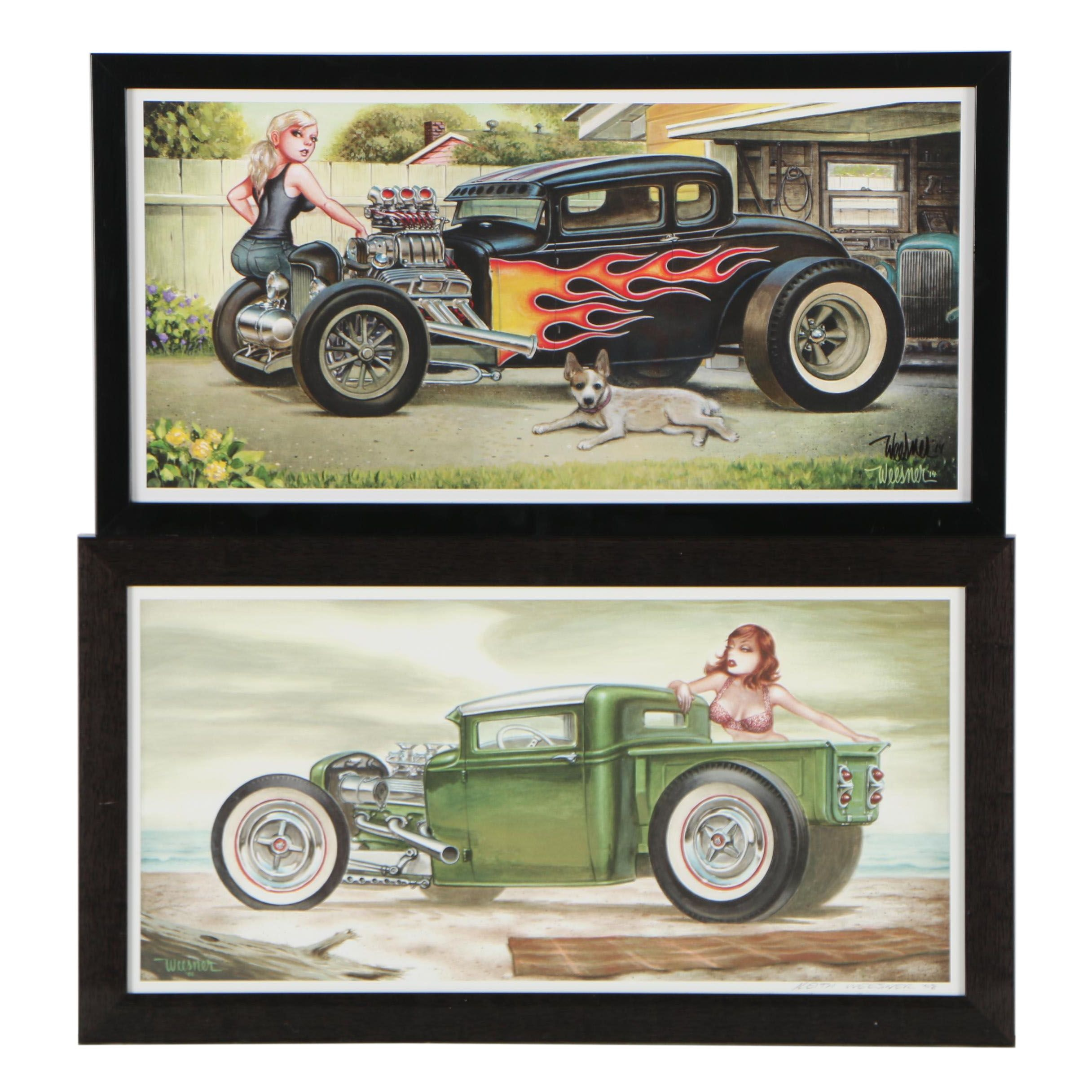 """Keith Weesner Offset Lithographs """"Hot Iron"""" and """"Emerald Tide"""""""
