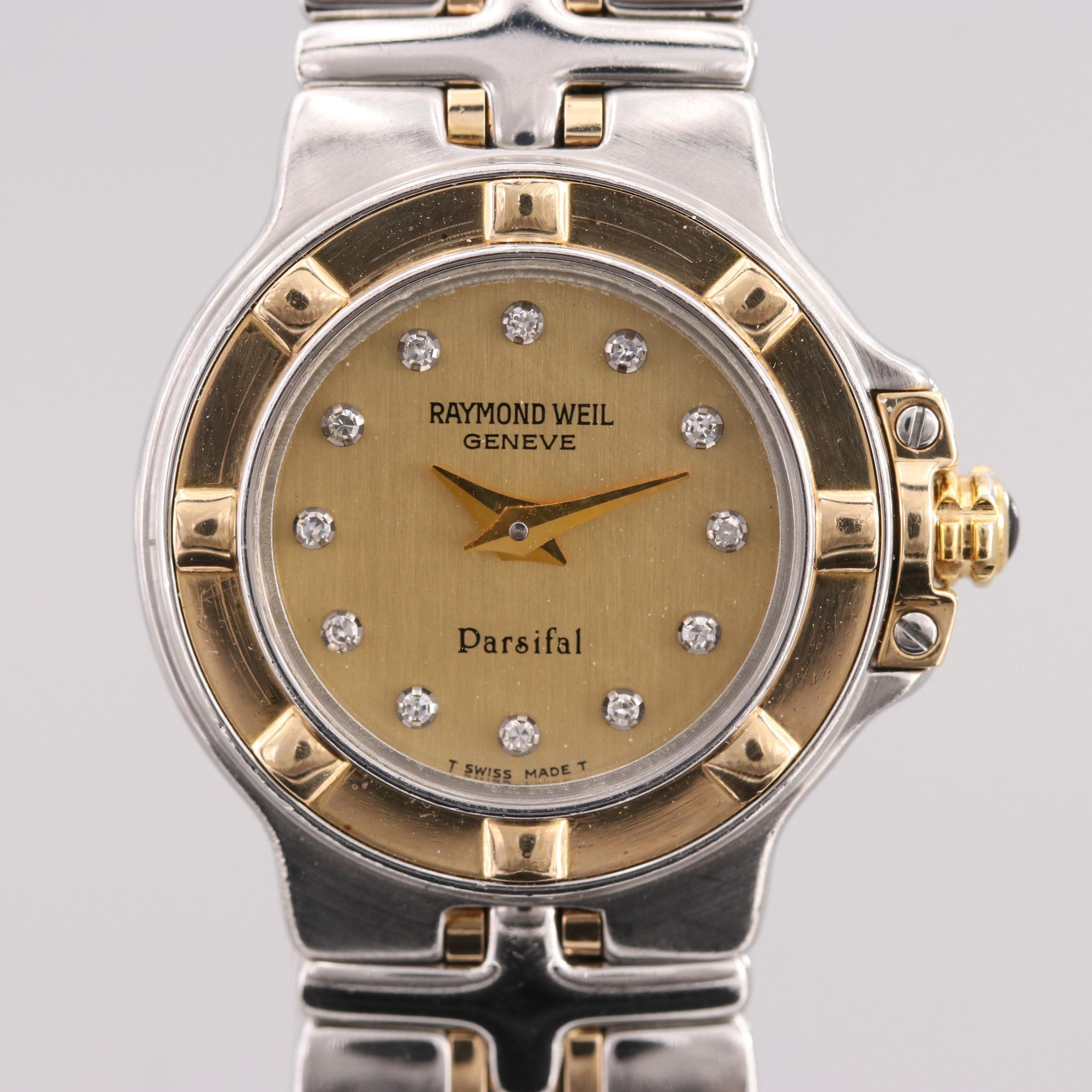 Raymond Weil Parsifal Stainless Steel and 18K Gold Wristwatch With Diamond Dial