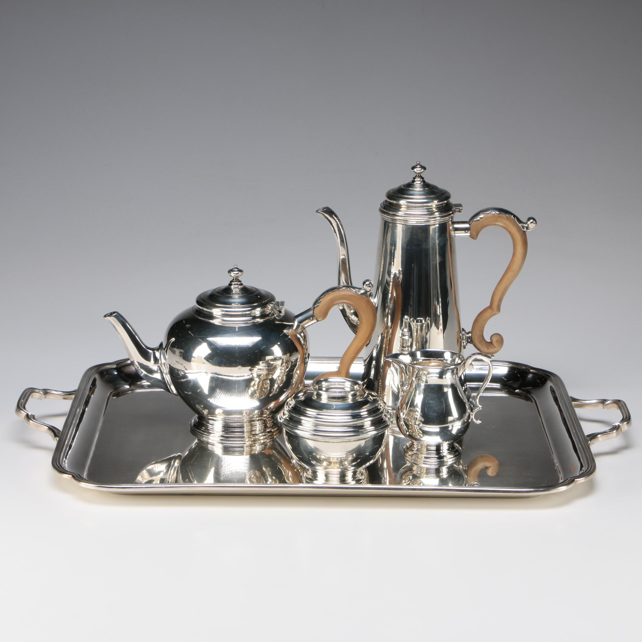 James Robinson Sterling Tea and Coffee Service with Silver Plate Tray, 1966-1969