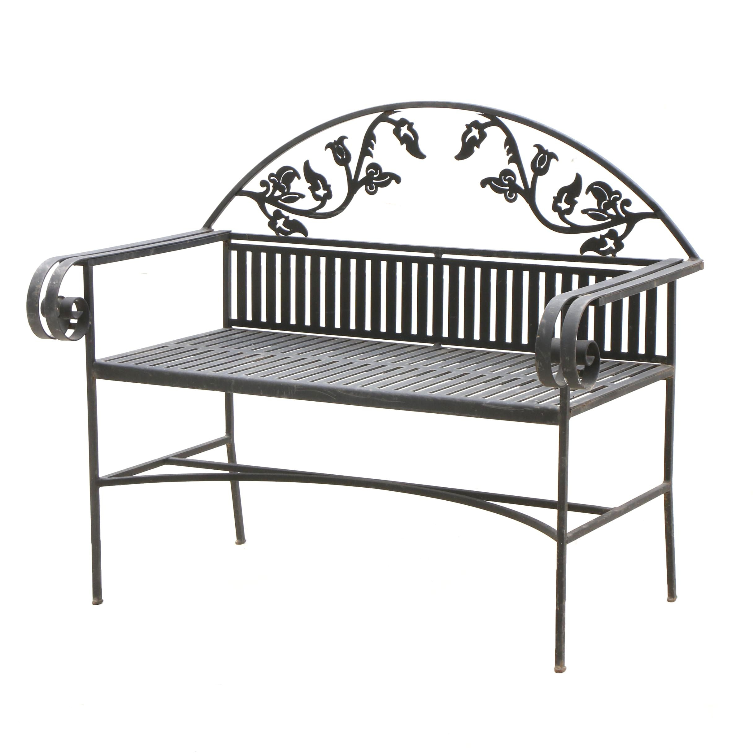 Cast Metal Garden Bench in Floral and Foliate Motif