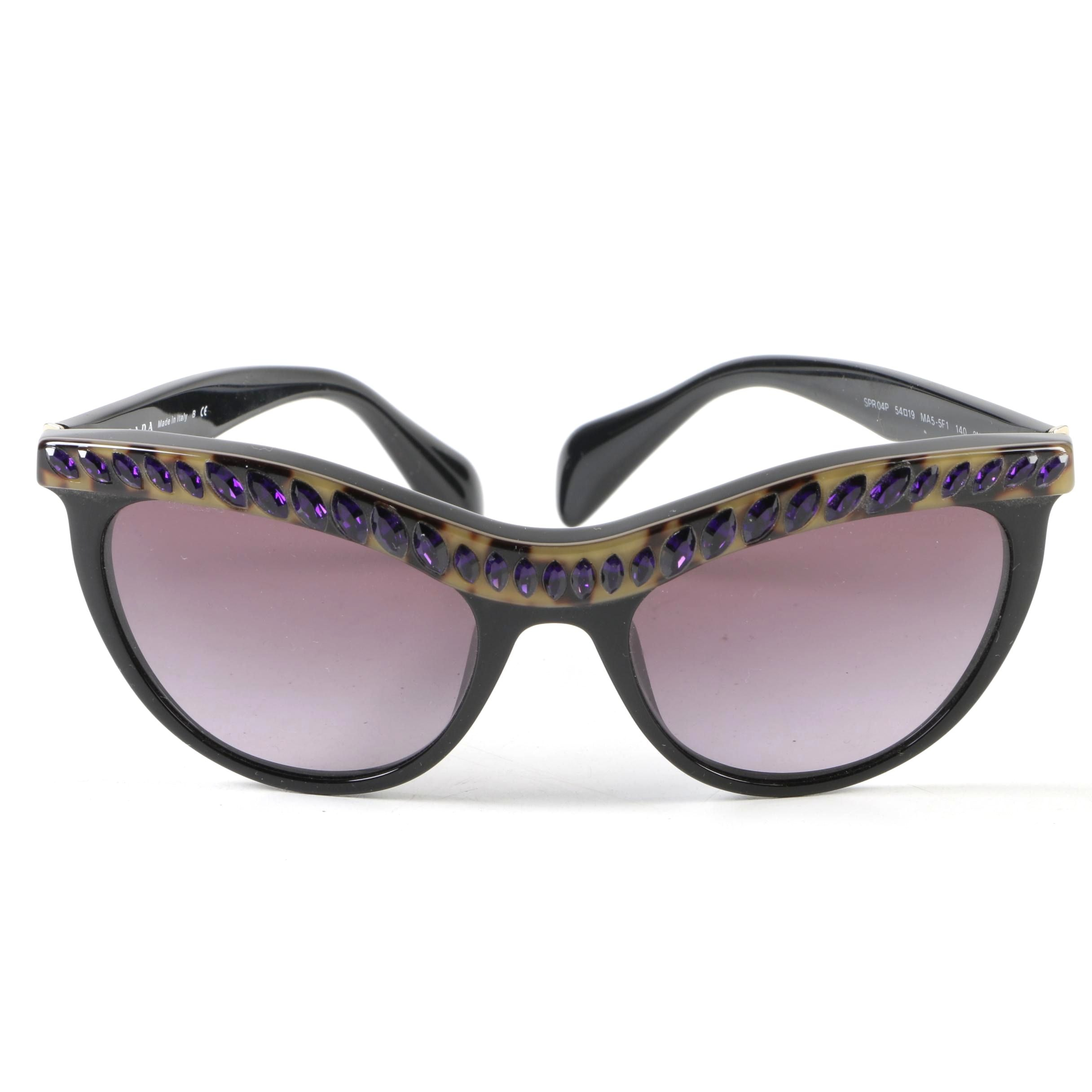 Prada SPR 04P Embellished Black Modified Cat Eye Sunglasses