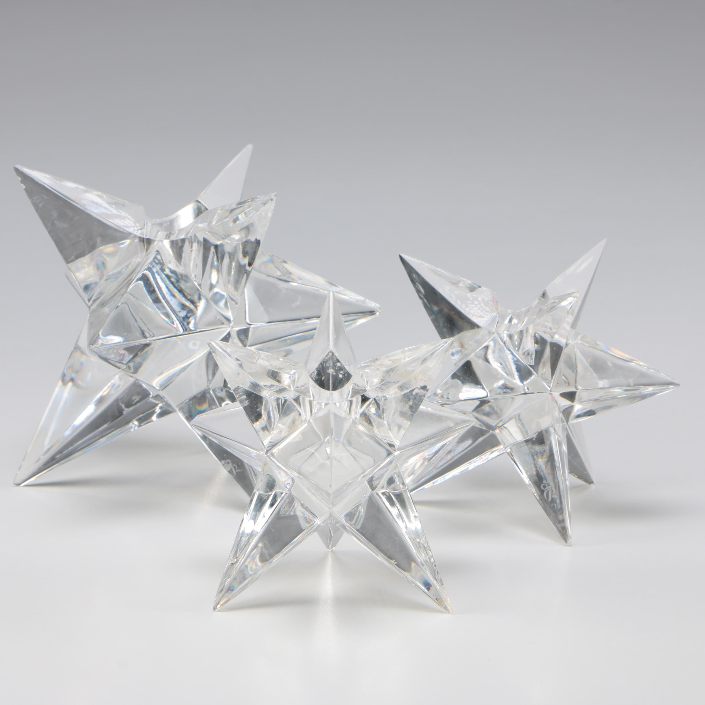 """Rosenthal Crystal """"Star"""" Candleholders, Mid/Late 20th Century"""
