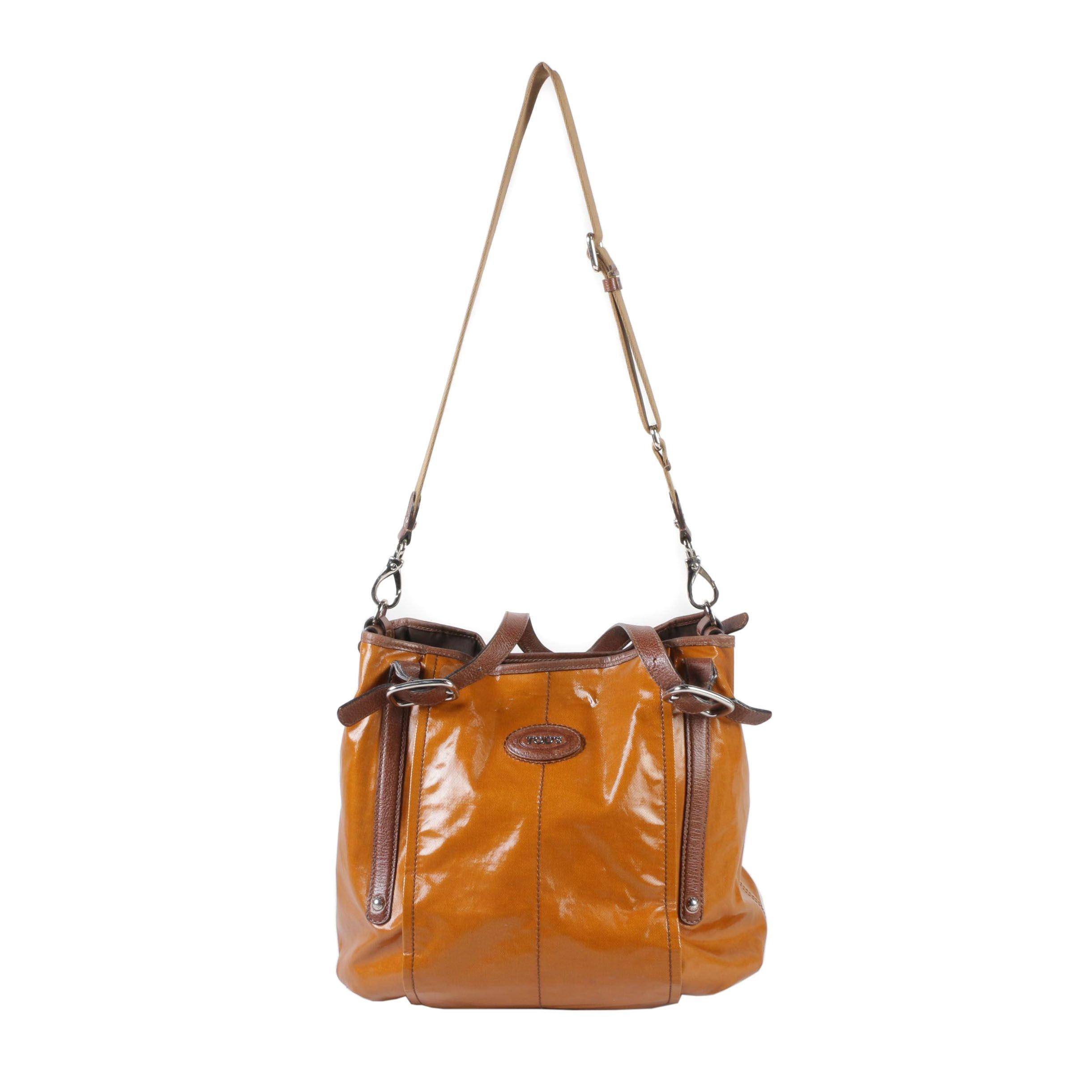 Tod's Russet Brown Coated Canvas Handbag with Adjustable Shoulder Strap