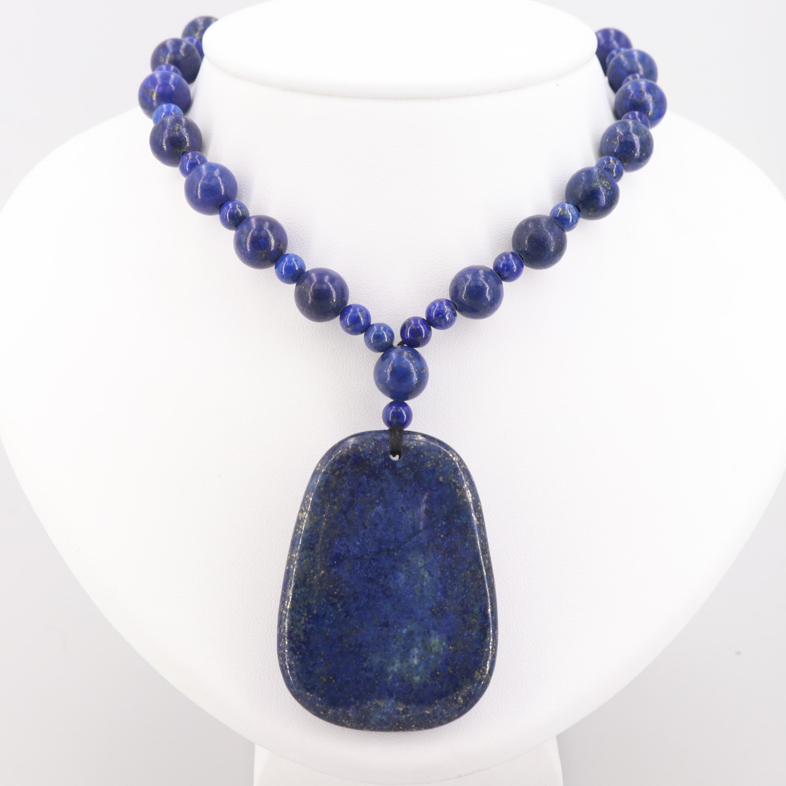 Sterling Silver Lapis Lazuli Bead Necklace and Pendant