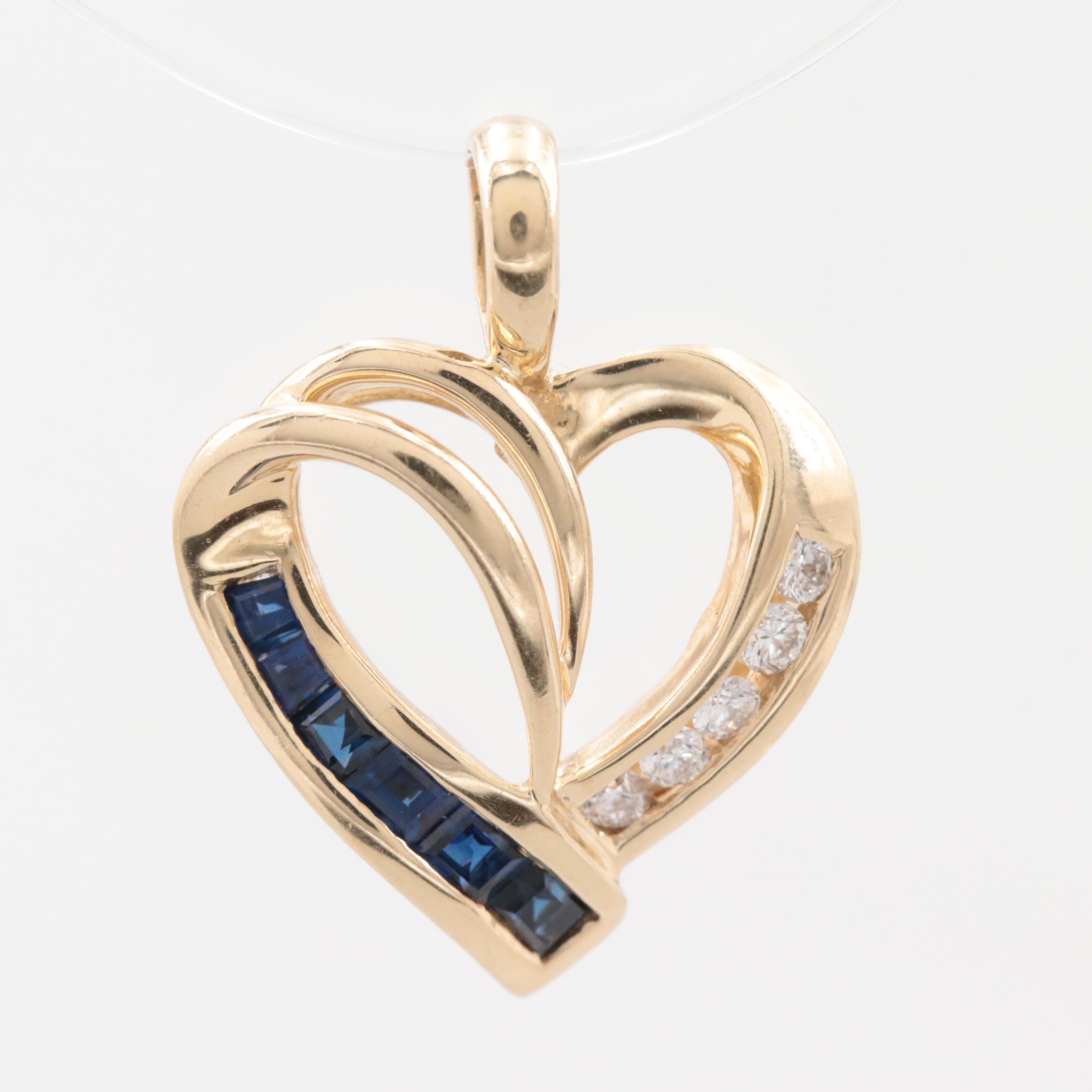 14K Yellow Gold Diamond and Blue Sapphire Heart Pendant