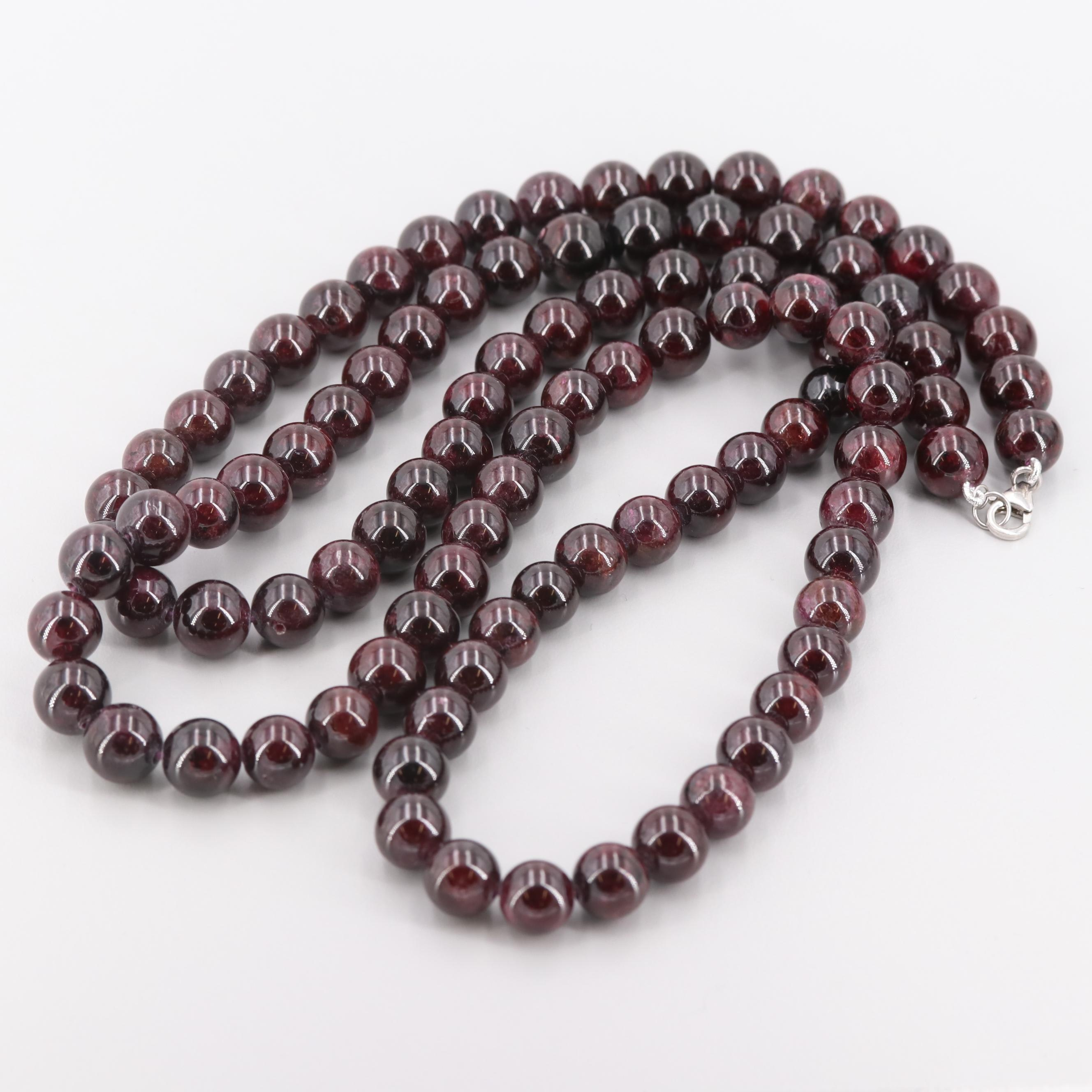 Garnet Beaded Necklace with Sterling Silver