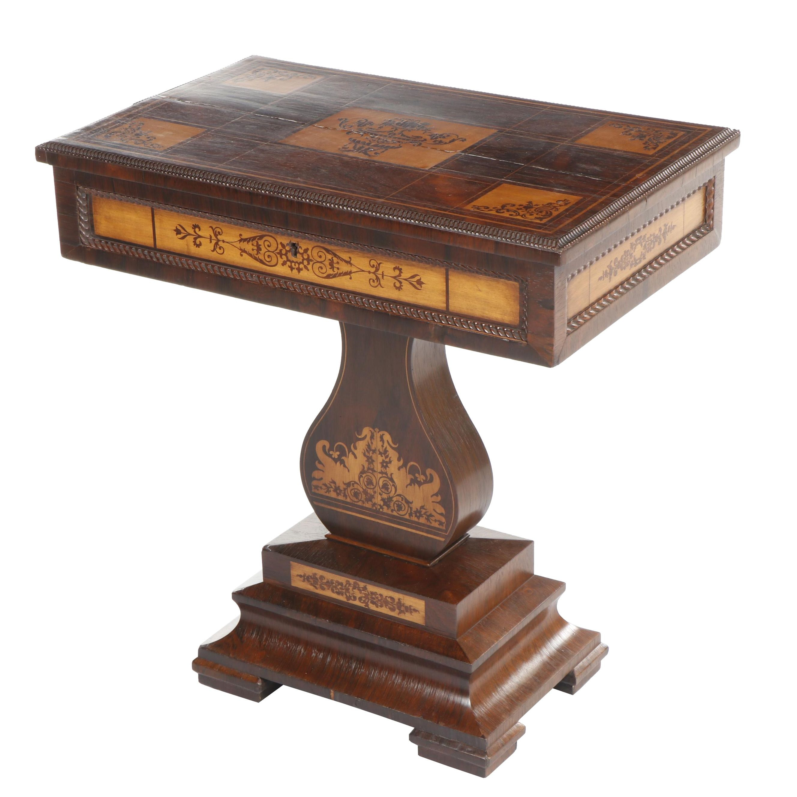 William IV Rosewood, Stencil Decorated and Parcel Gilt Work Table, Circa 1840