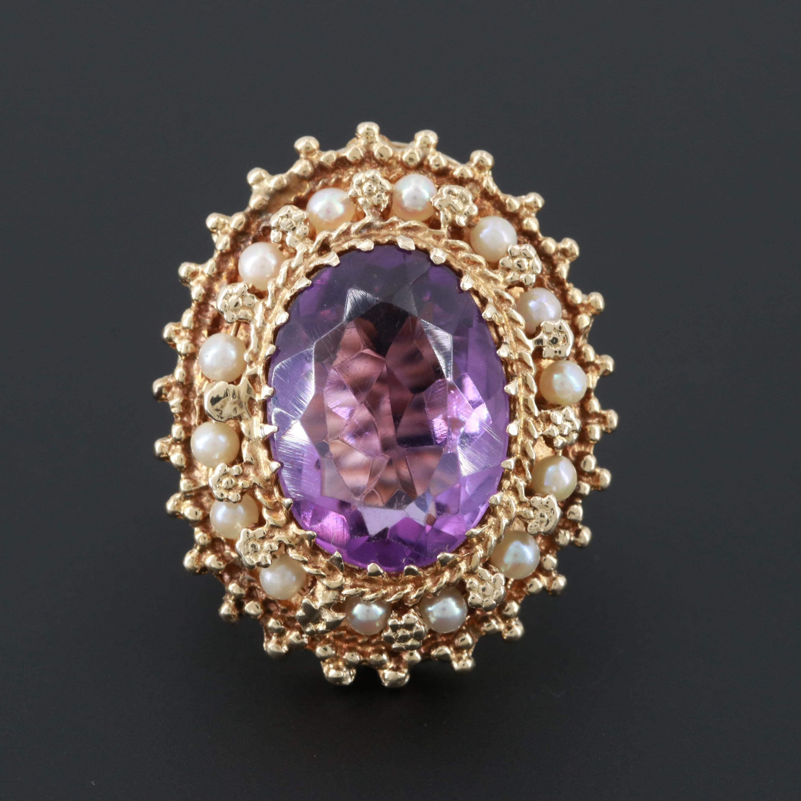 14K Yellow Gold Amethyst and Cultured Pearl Filigree Ring