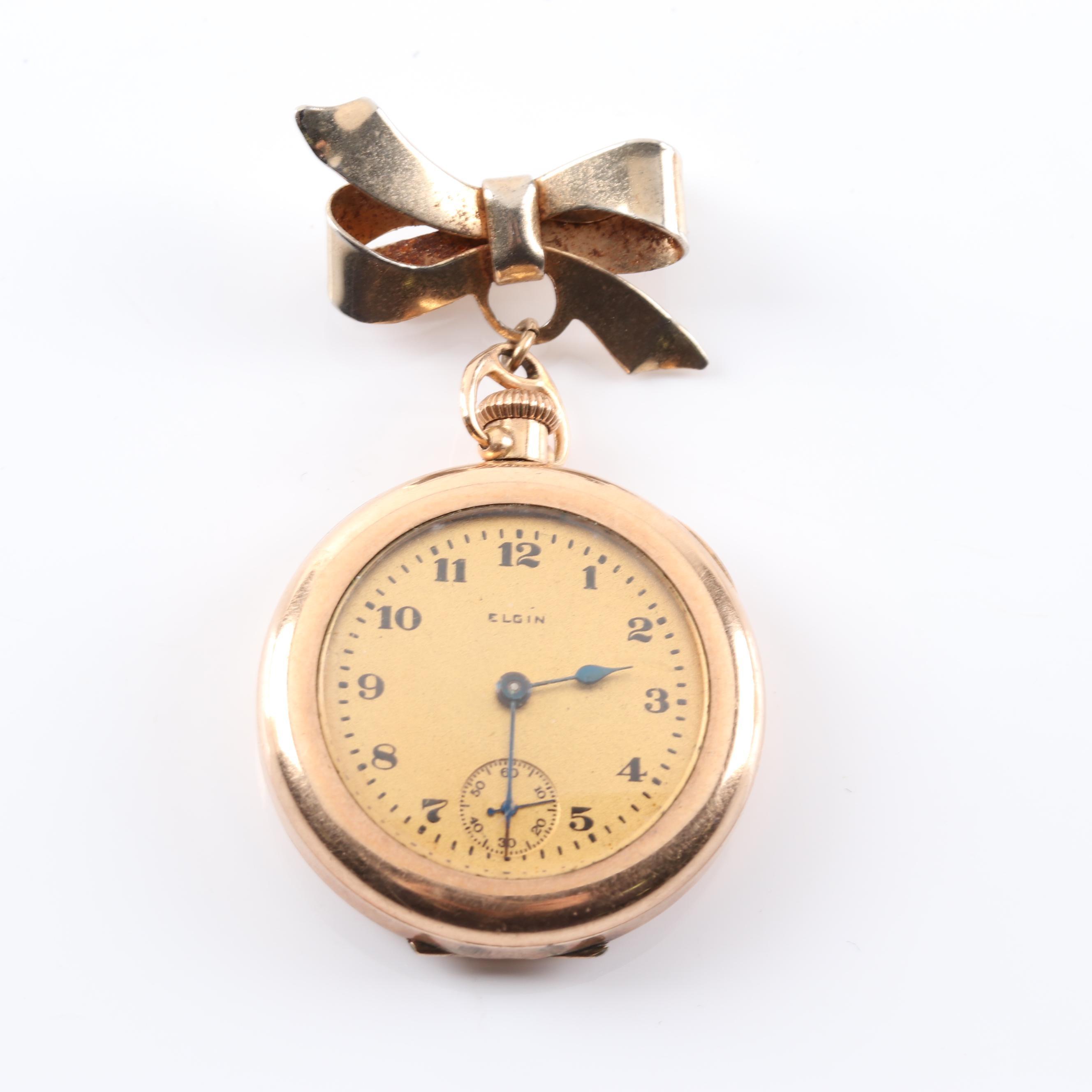 Gold Tone Elgin Engraved Watch Pin