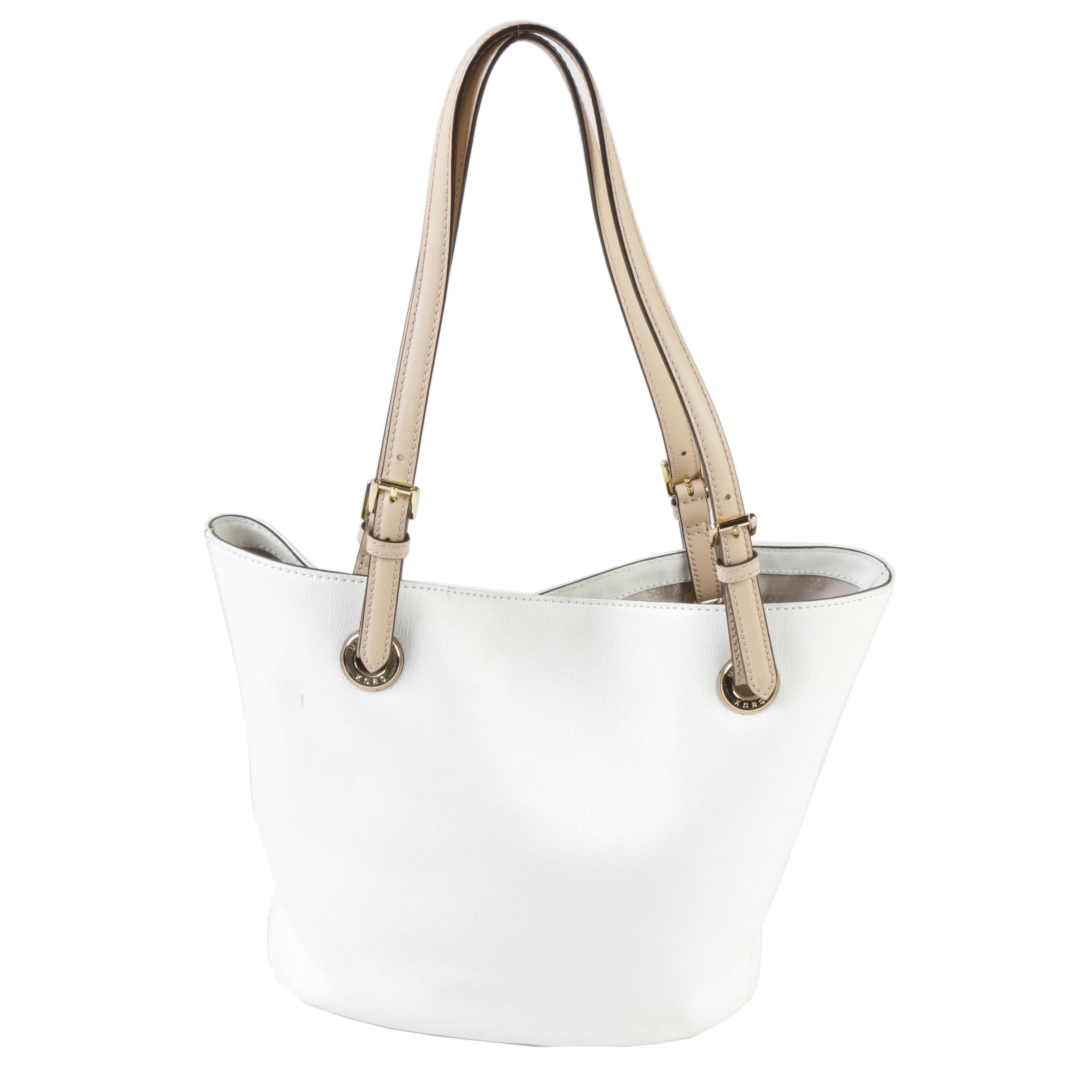 MICHAEL Michael Kors White Saffiano Leather Shoulder Bag