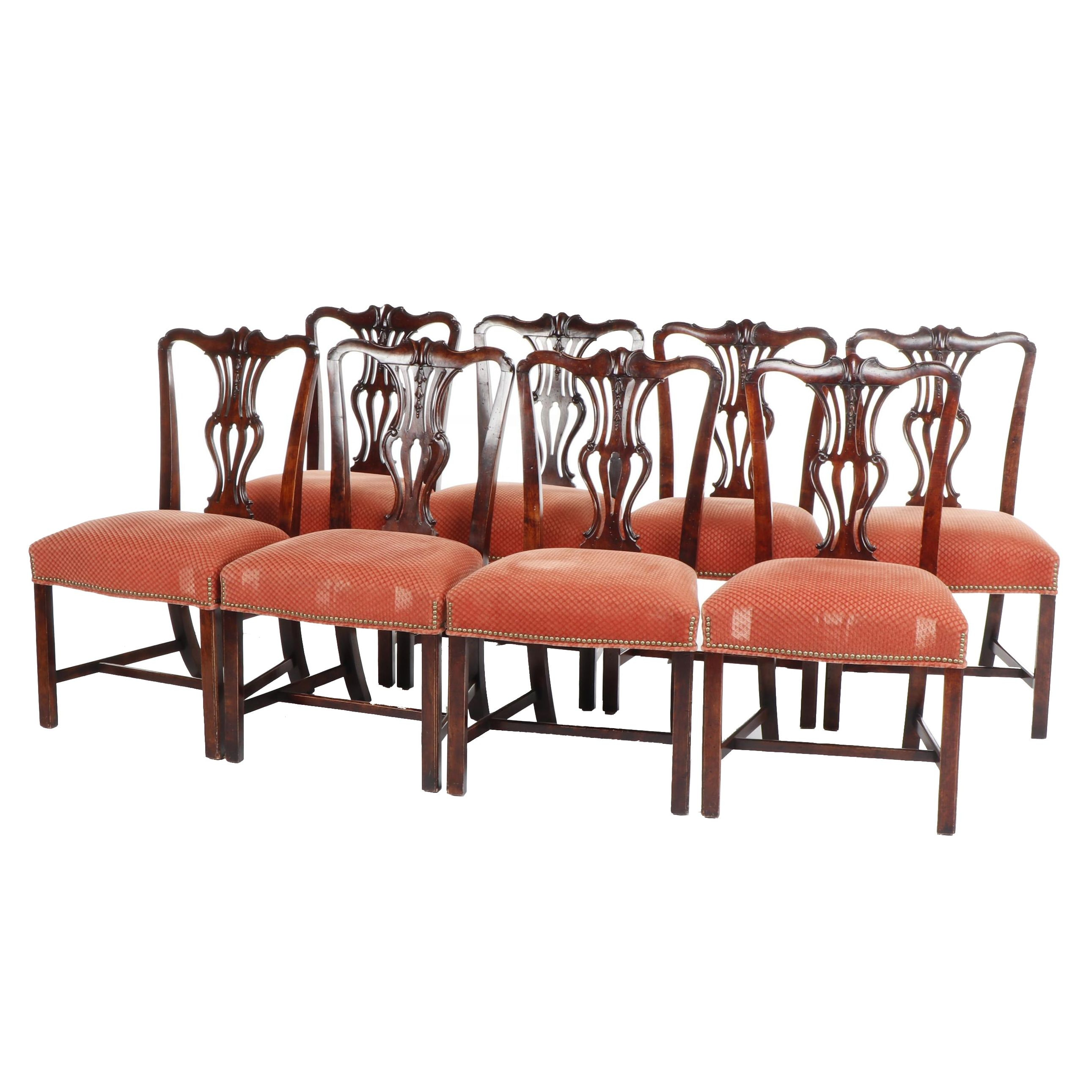 Set of Chippendale Transitional Style Wooden Upholstered Chairs