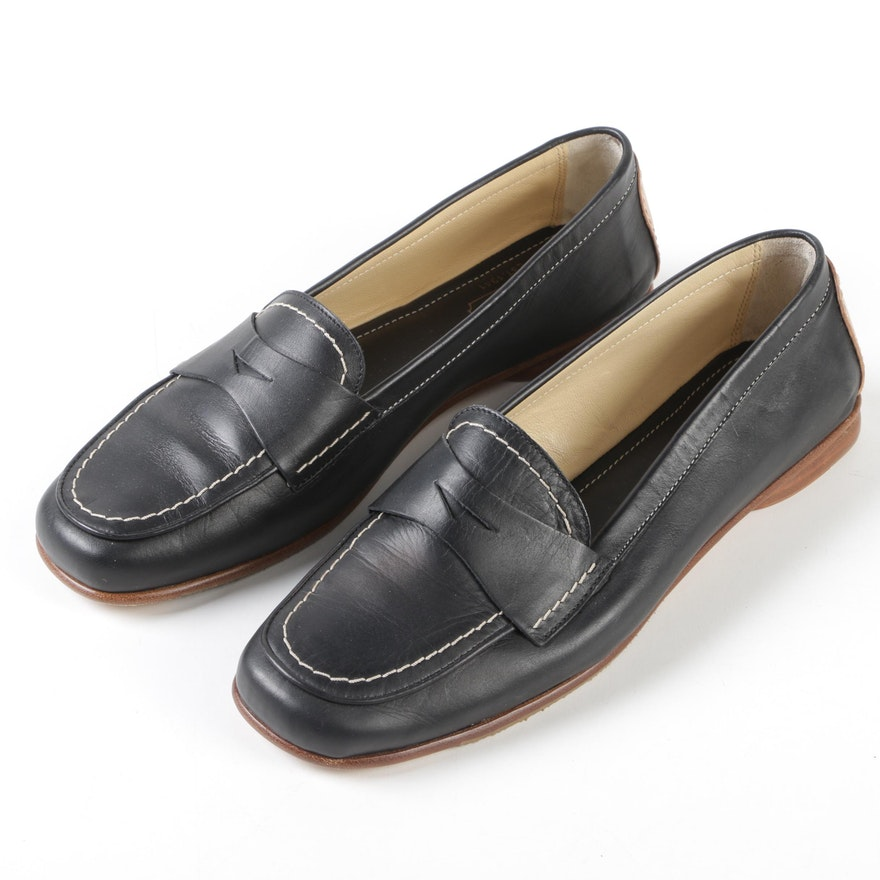 38af57617eb Women s Coach Shari Black and Tan Leather Loafers with Contrast Stitching  ...