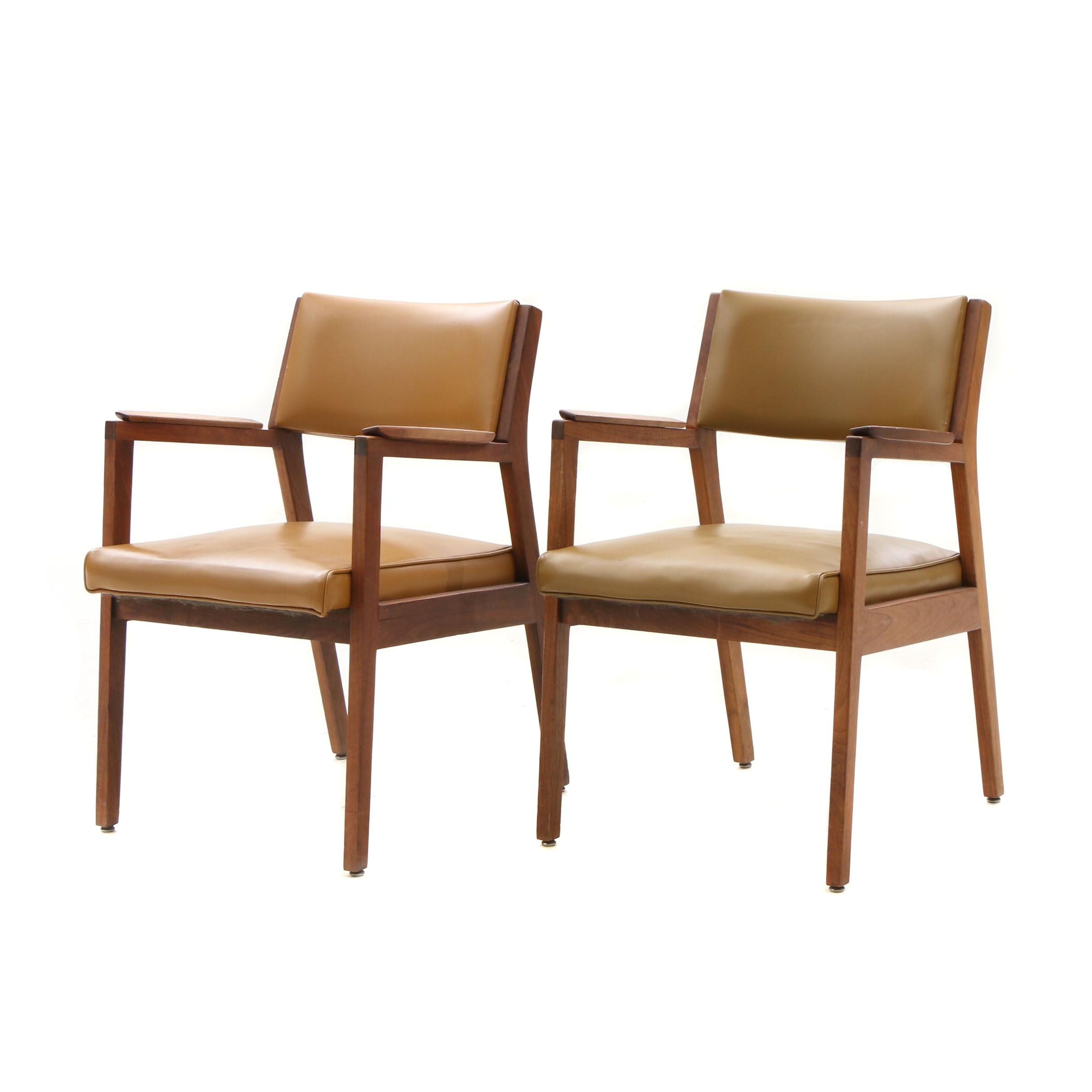 Mid Century Modern Vinyl Upholstered Walnut Frame Arm Chairs by Alma