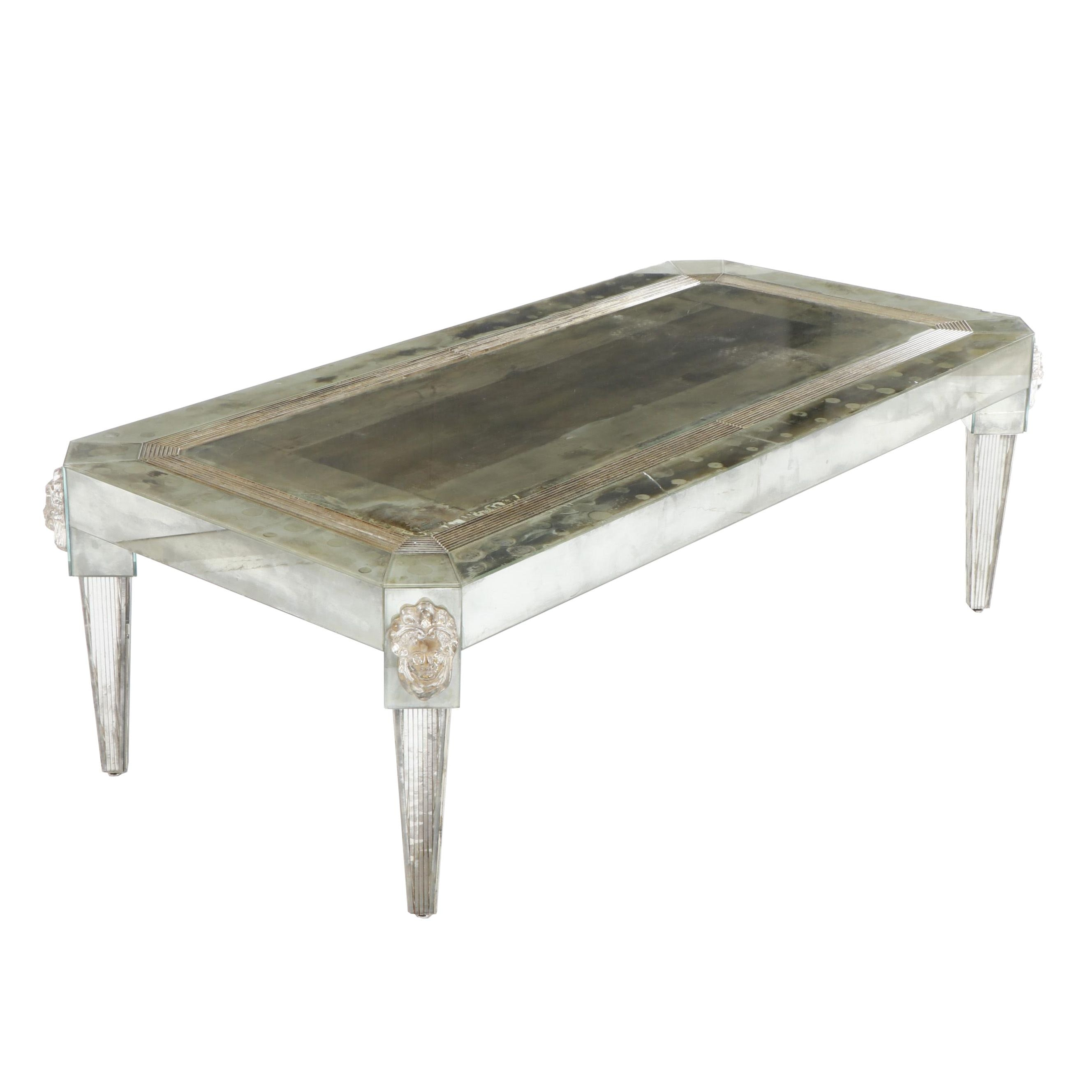 Contemporary Mirrored Neoclassical Coffee Table with Glass Portrait Mounts