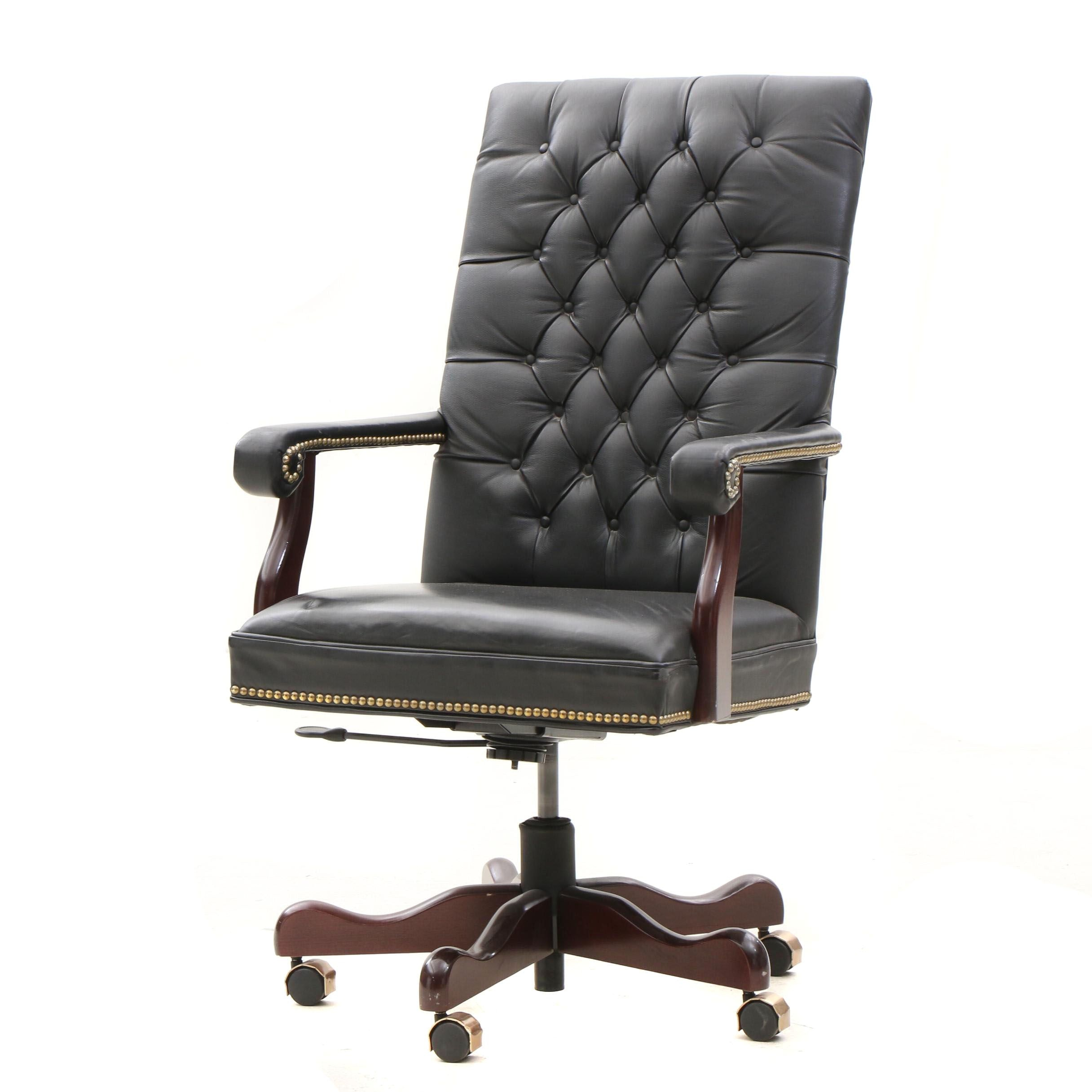 Button Tufted Leather Executive Office Chair by Indiana Furniture
