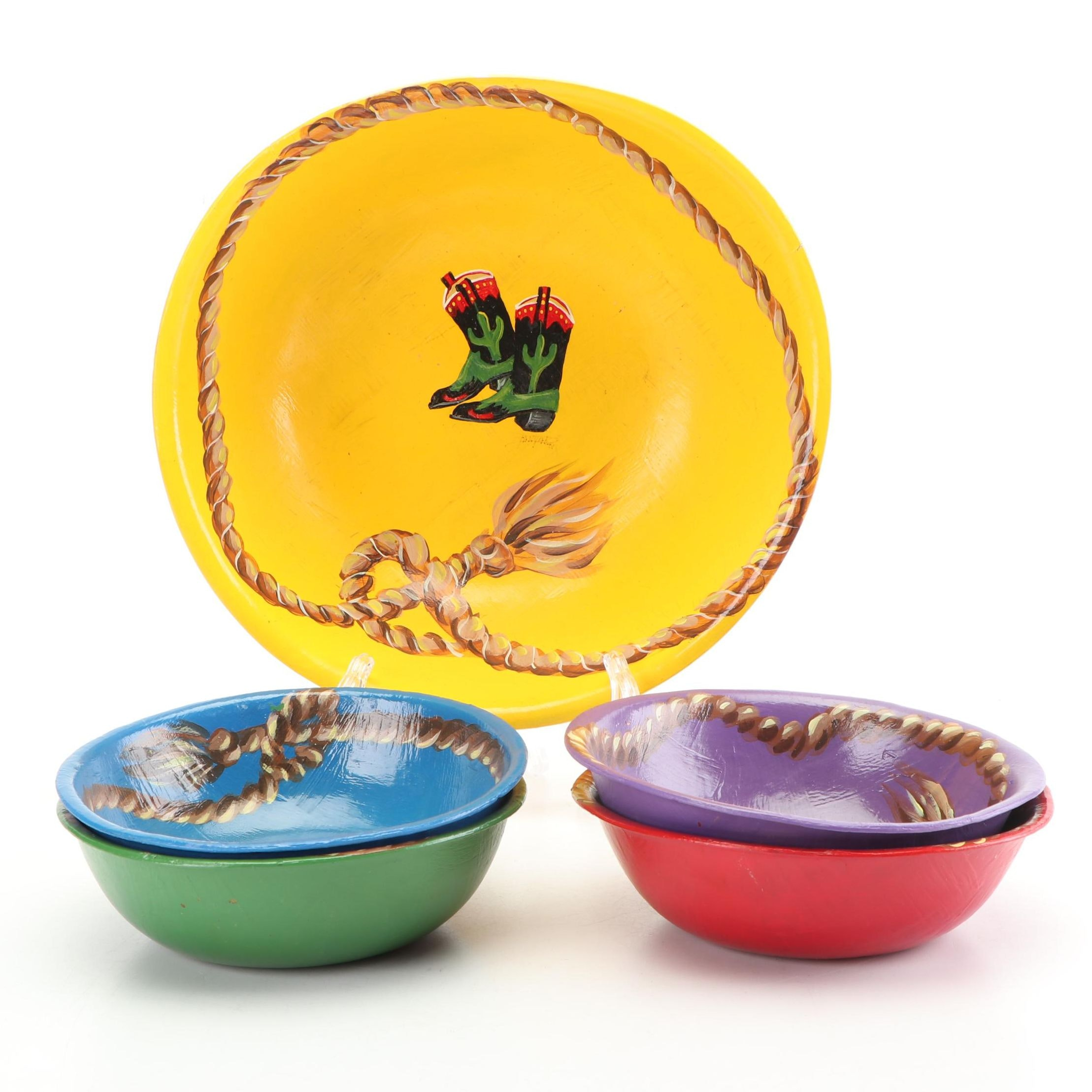 Hand-Painted Western Themed Wood Bowls