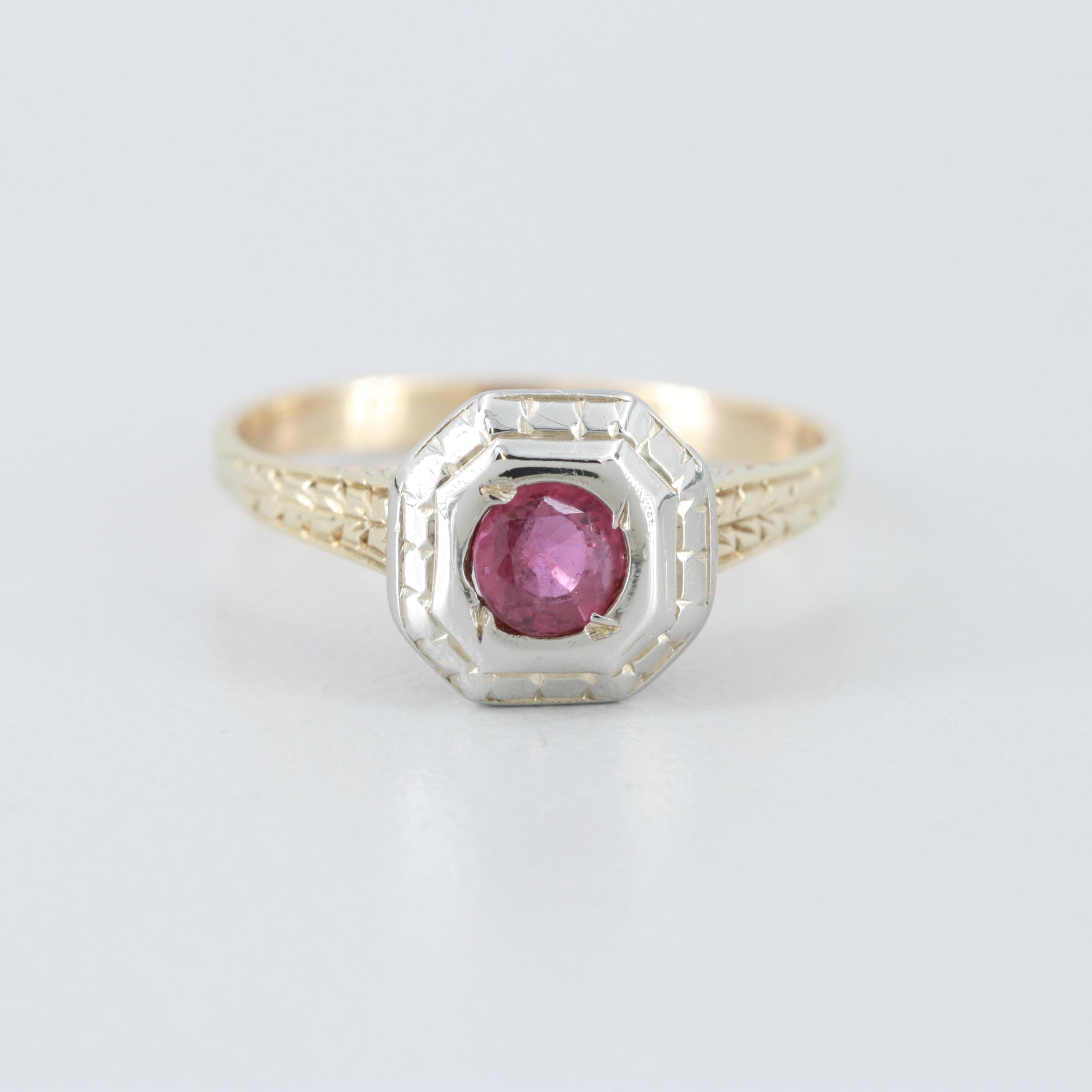 Art Deco 14K Yellow Gold Ruby Ring with 18K White Gold Accents