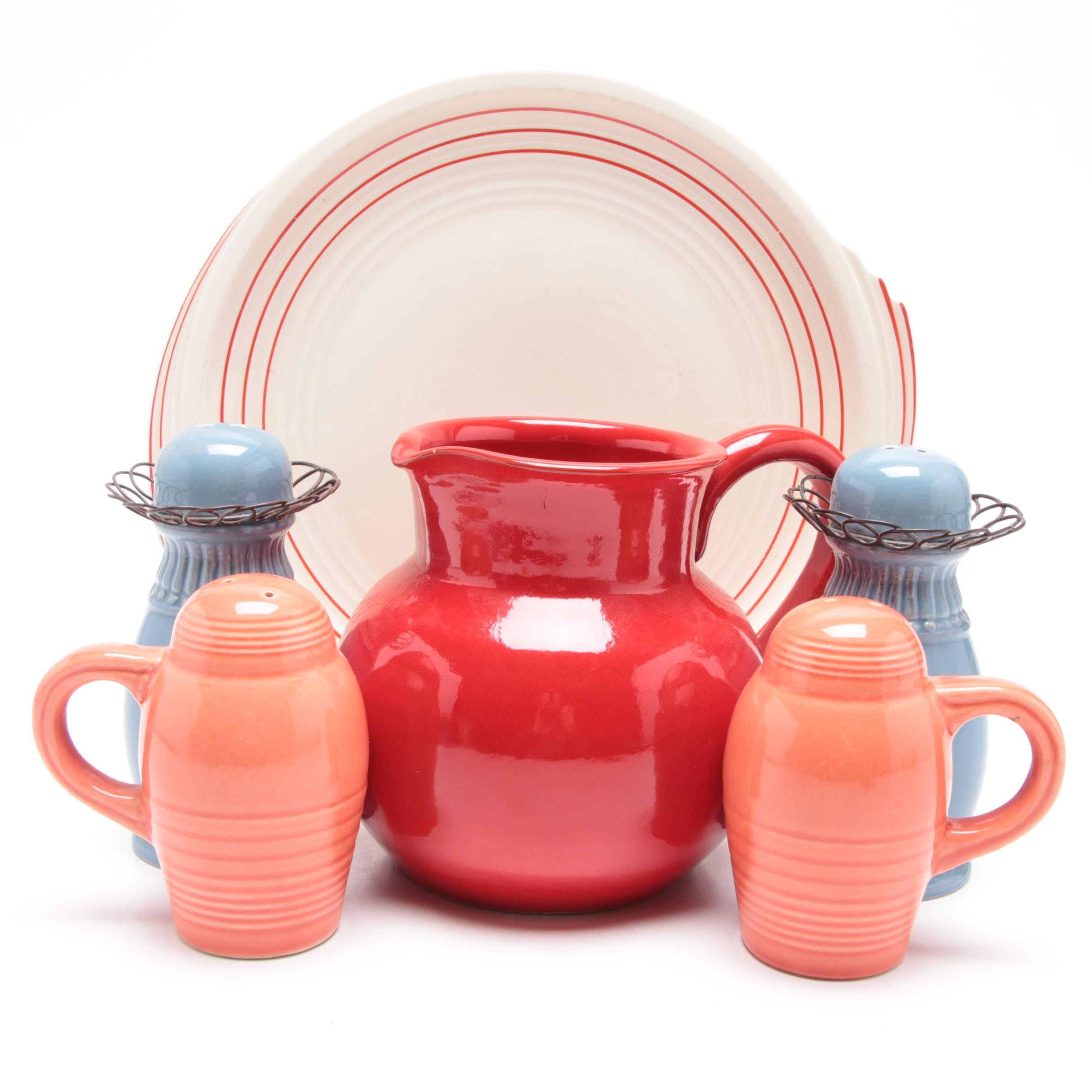 Vintage Ceramic Pitcher, Shakers, and Plate