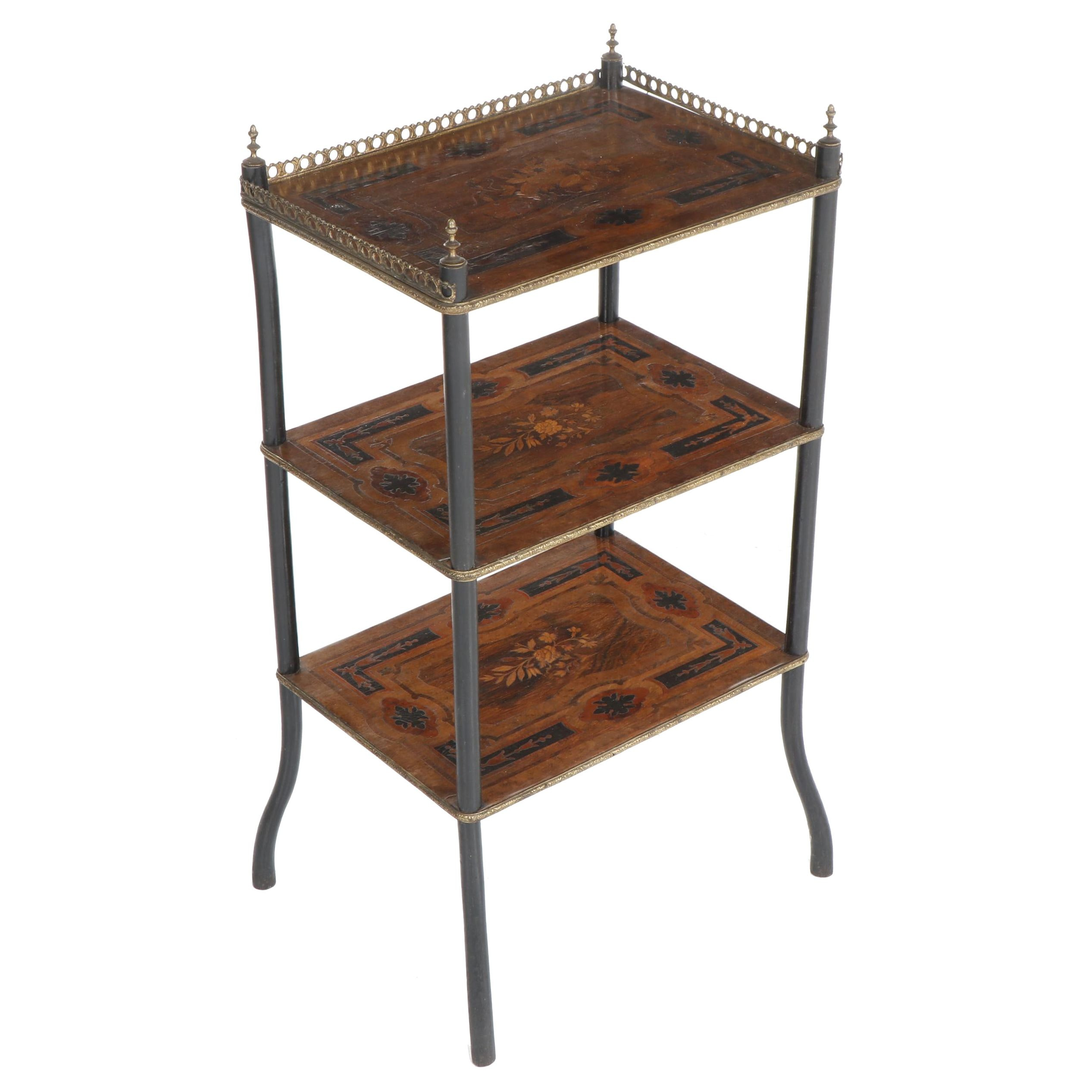 Wooden 3-Tier Side Table with Marquetry