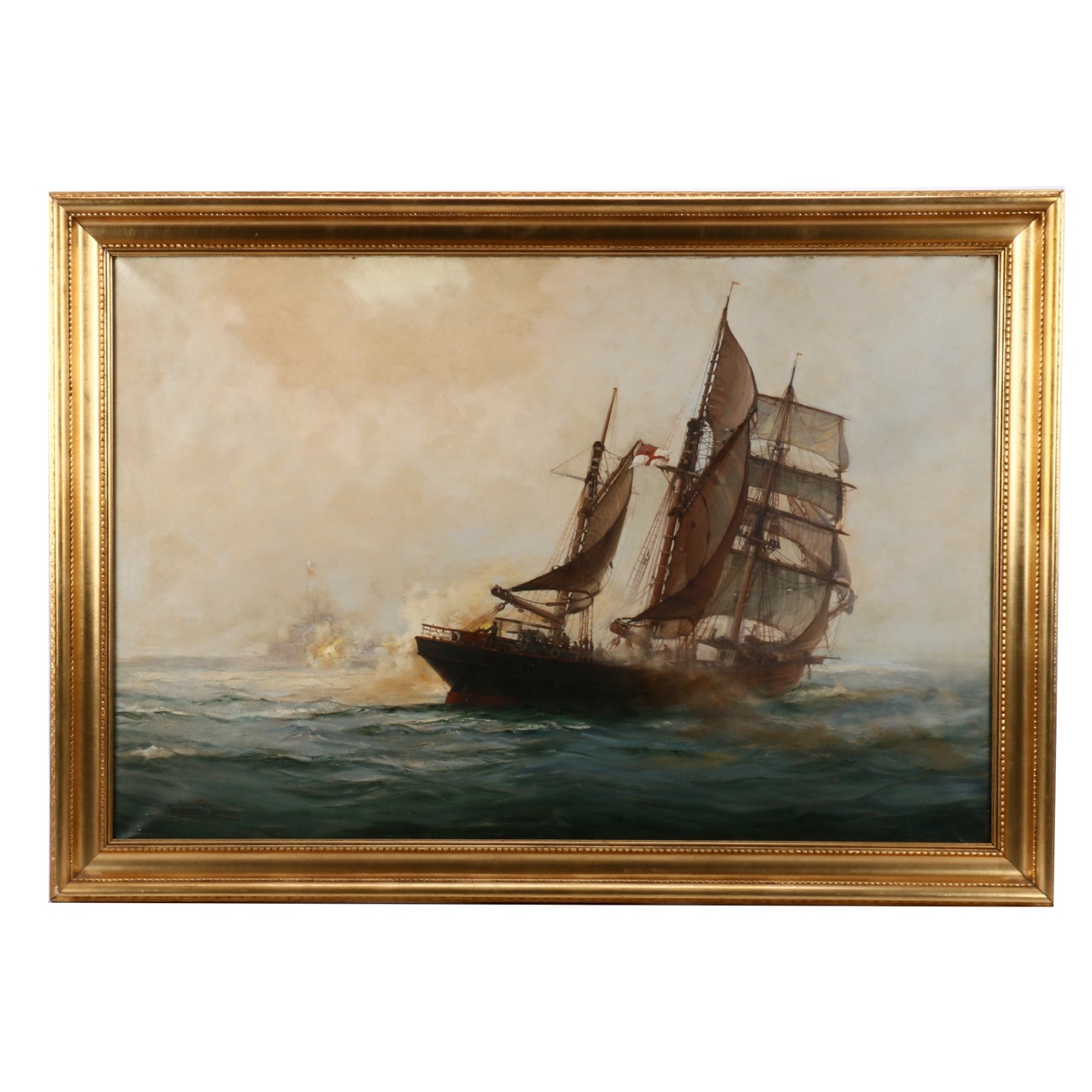 "An Important Montague J. Dawson Oil Painting ""The Q-Ship Mary Mitchell"""