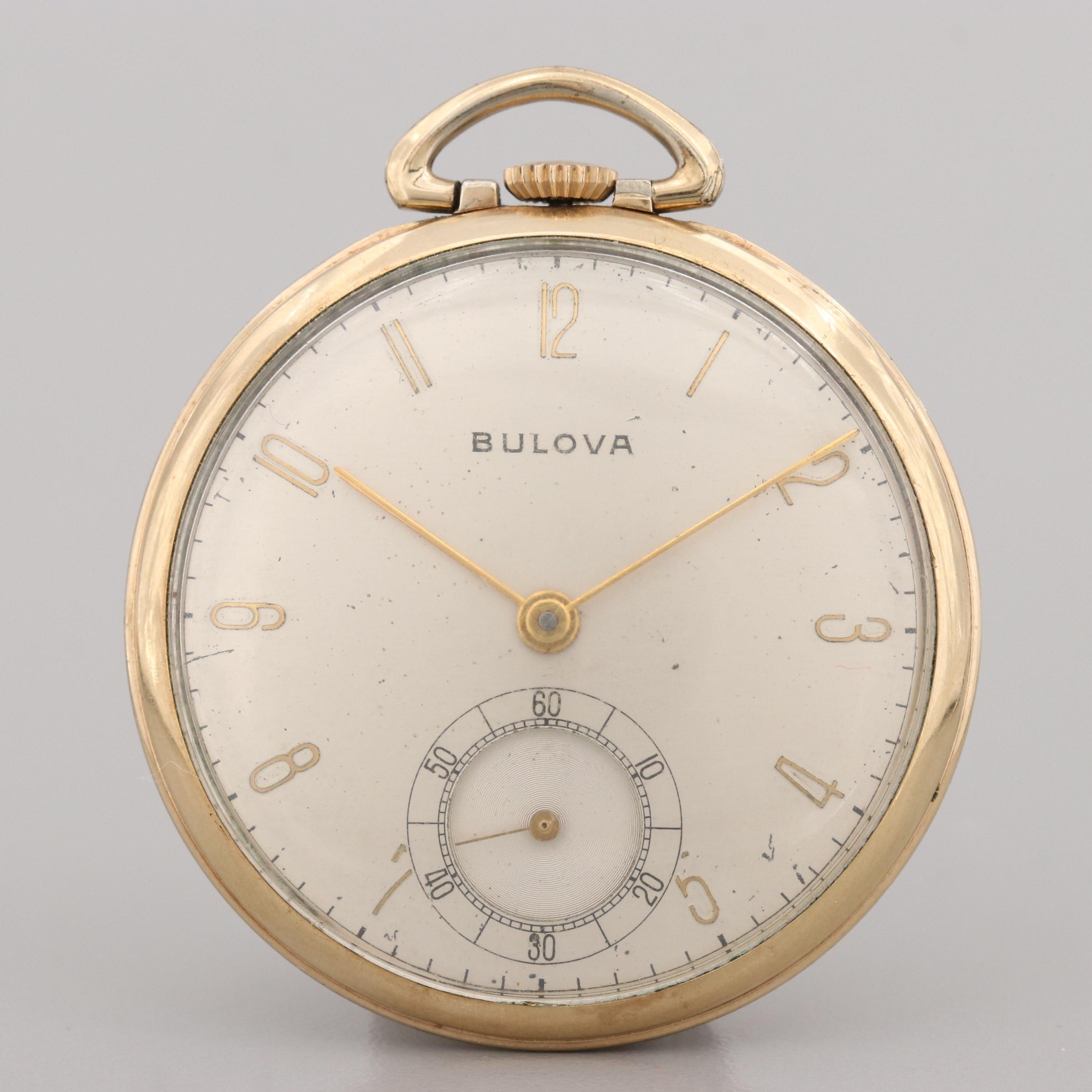 Vintage Bulova Rolled Gold Plate Open Face Pocket Watch