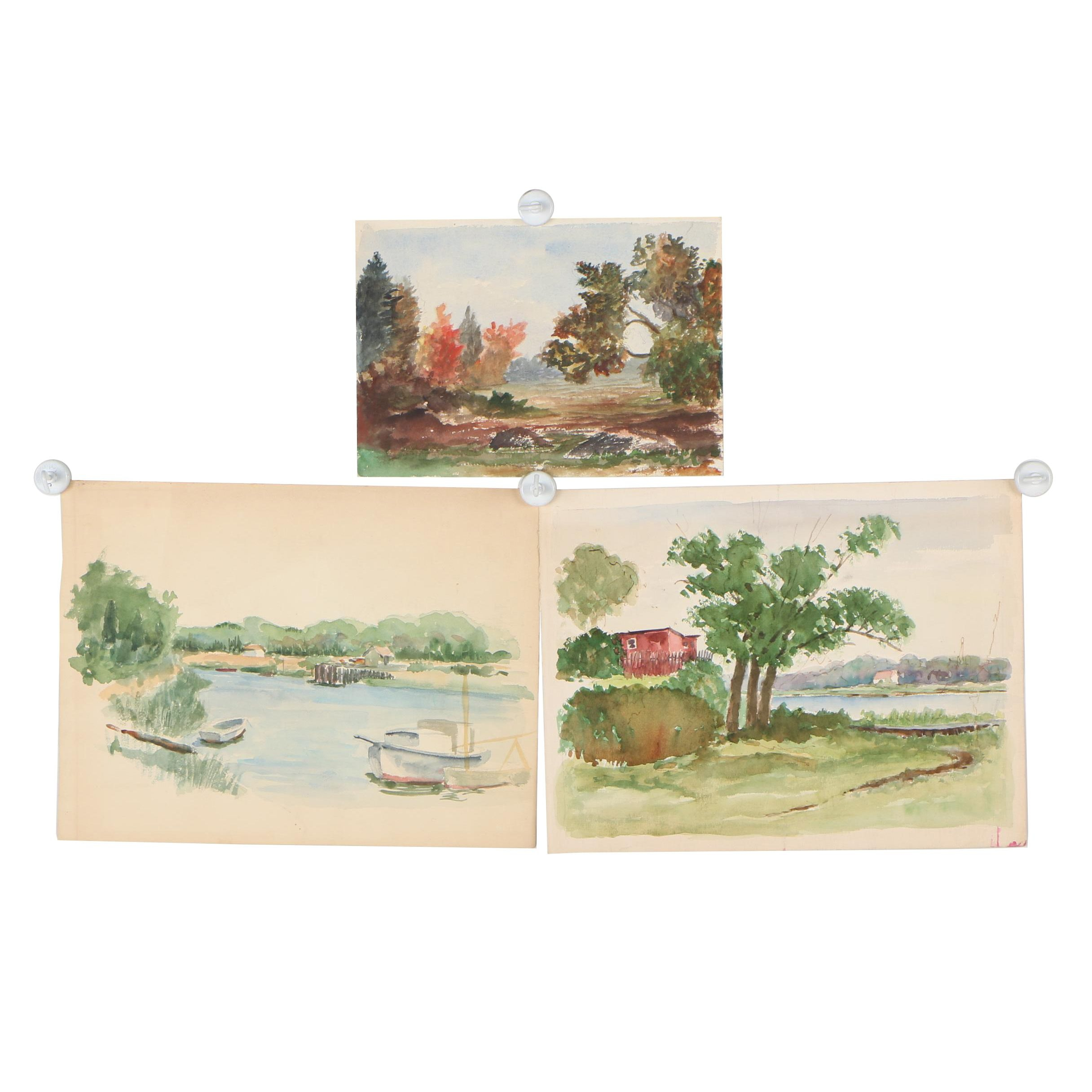 Mid-Late 20th Century Landscape Watercolor Paintings