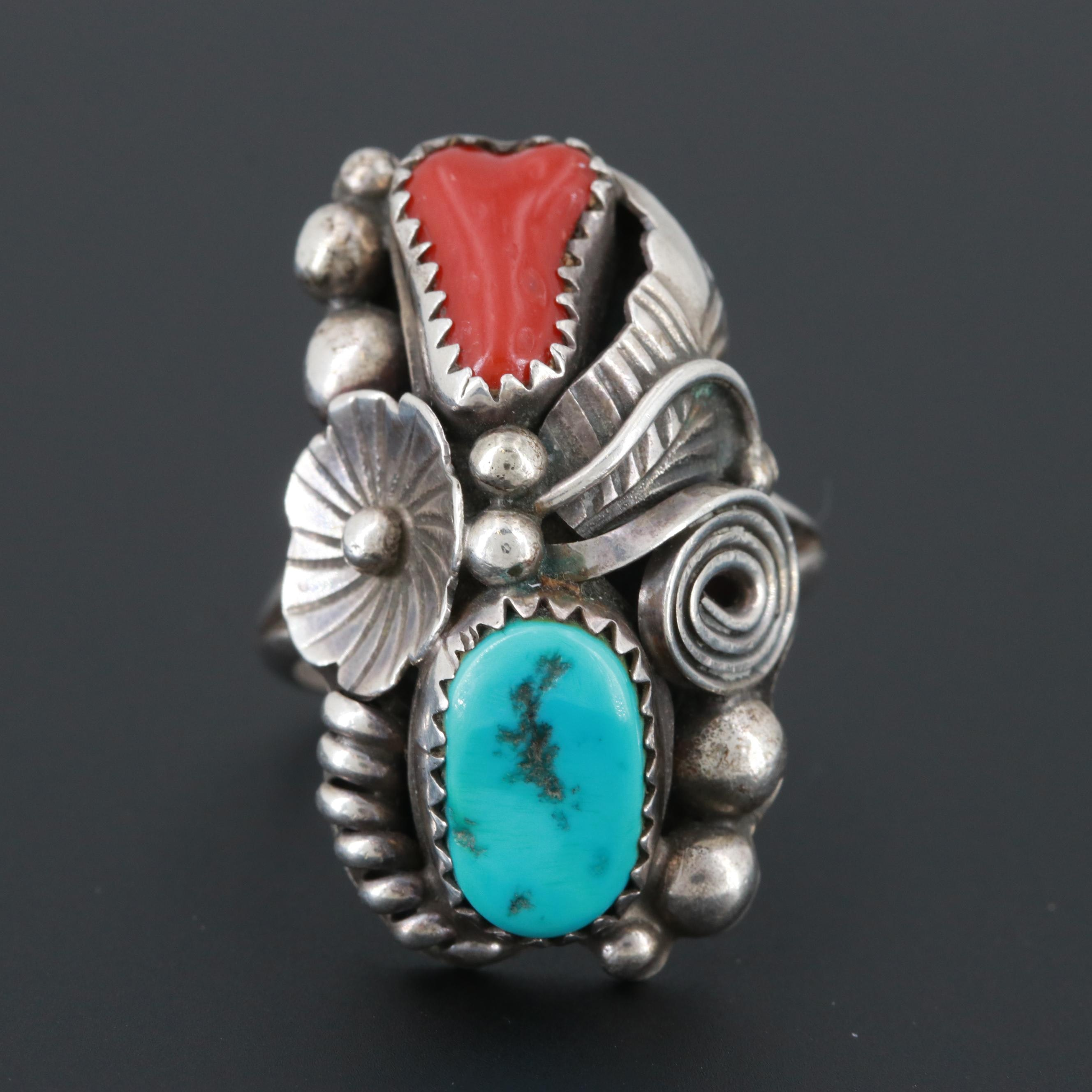 Max Calabaza Navajo Diné Sterling Silver Turquoise and Coral Ring