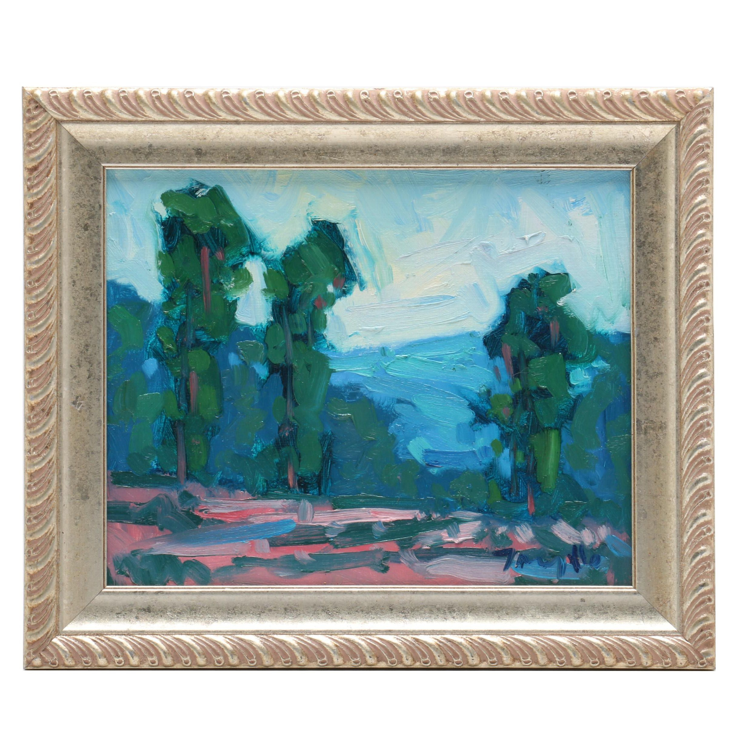 "Jose Trujillo Oil Painting ""Eucalyptus Morning"""