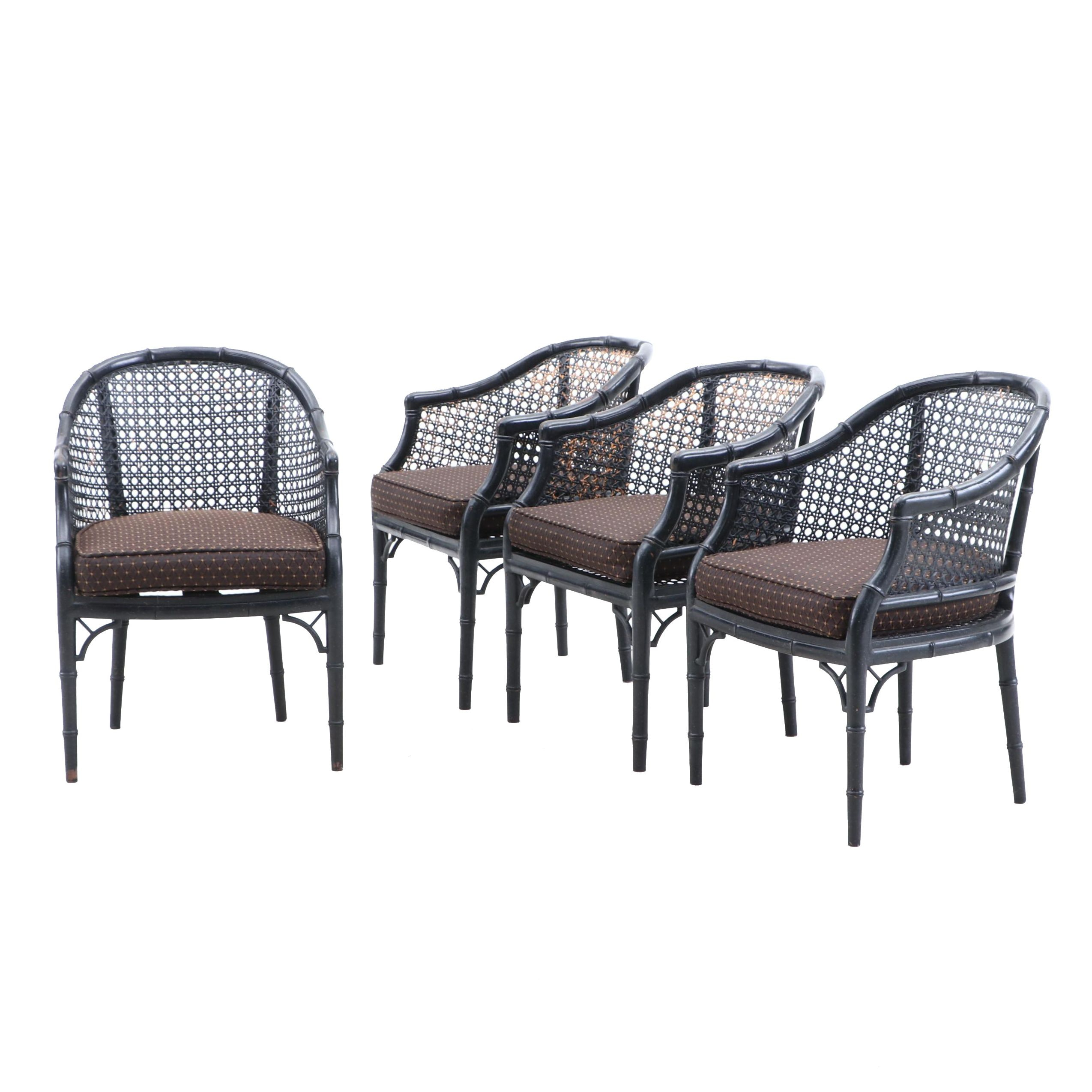 Bamboo and Cane Ebonized Finish Armchairs