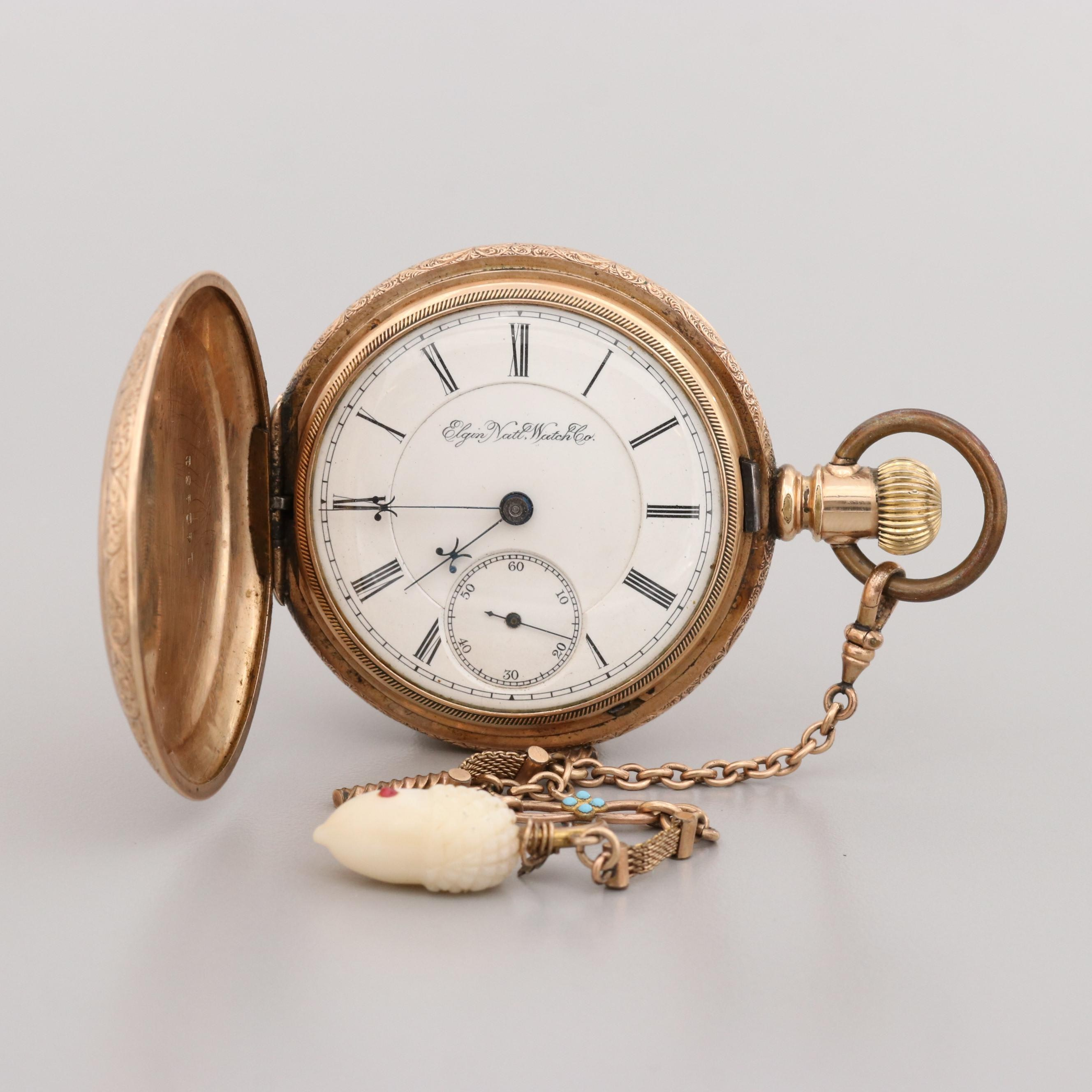 Elgin Railroad Grade Gold Filled Pocket Watch with Fob and Mother of Pearl, 1893