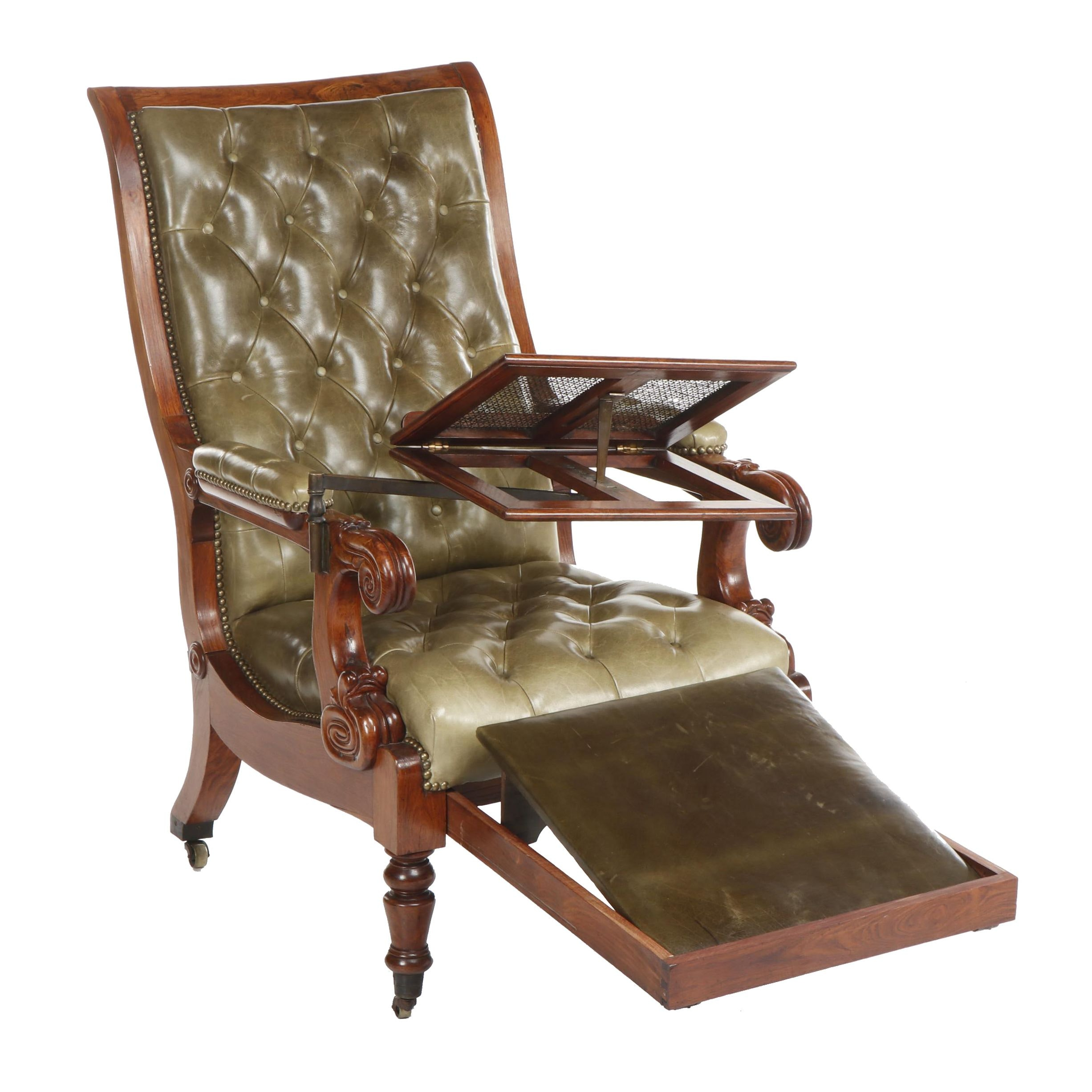 George IV Walnut Tufted Leather Reading Armchair with Footrest, Circa 1840