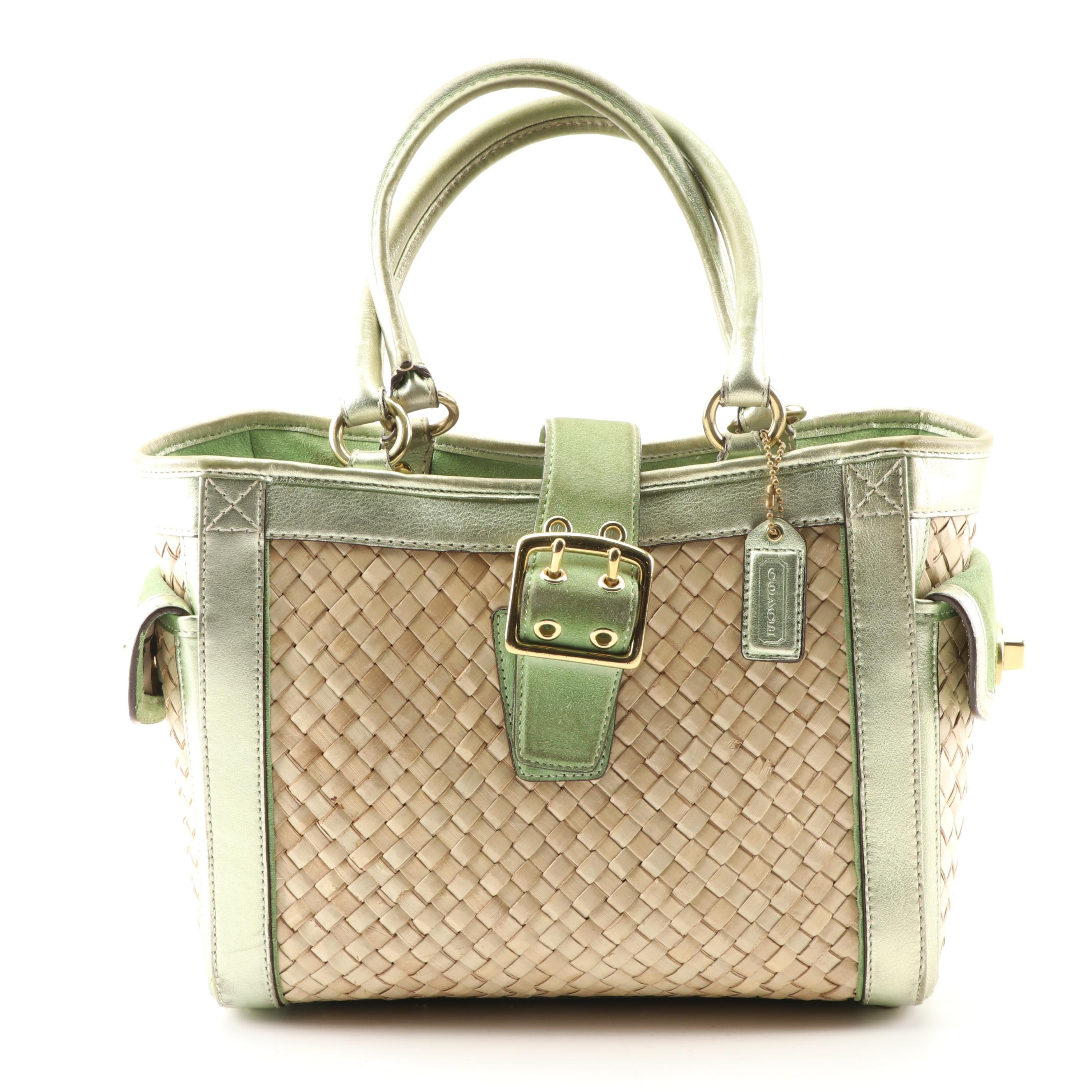 Coach Woven Straw and Green Suede Tote Bag
