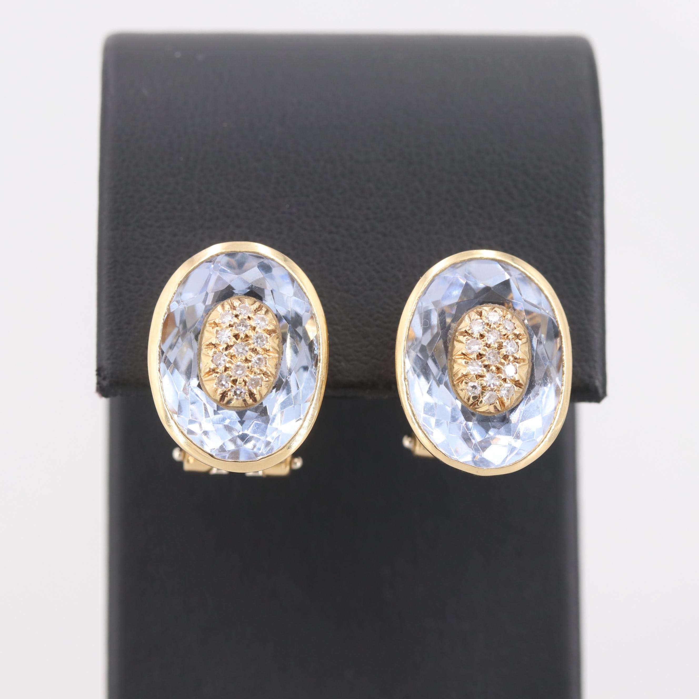 18K Yellow Gold Diamond and Synthetic Blue Quartz Clip-On Earrings