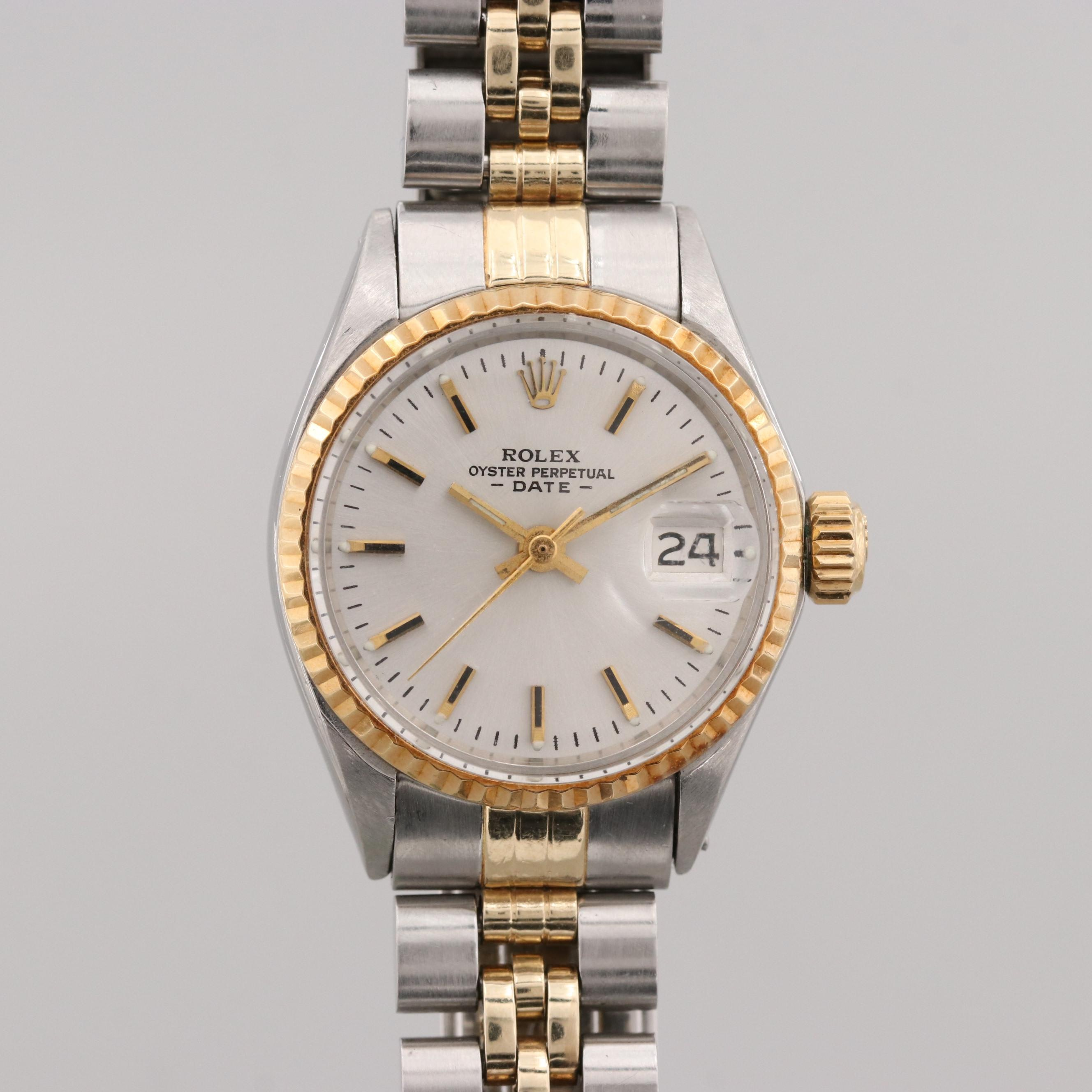 Rolex Oyster Perpetual Date Stainless Steel and Gold Automatic Wristwatch, 1971