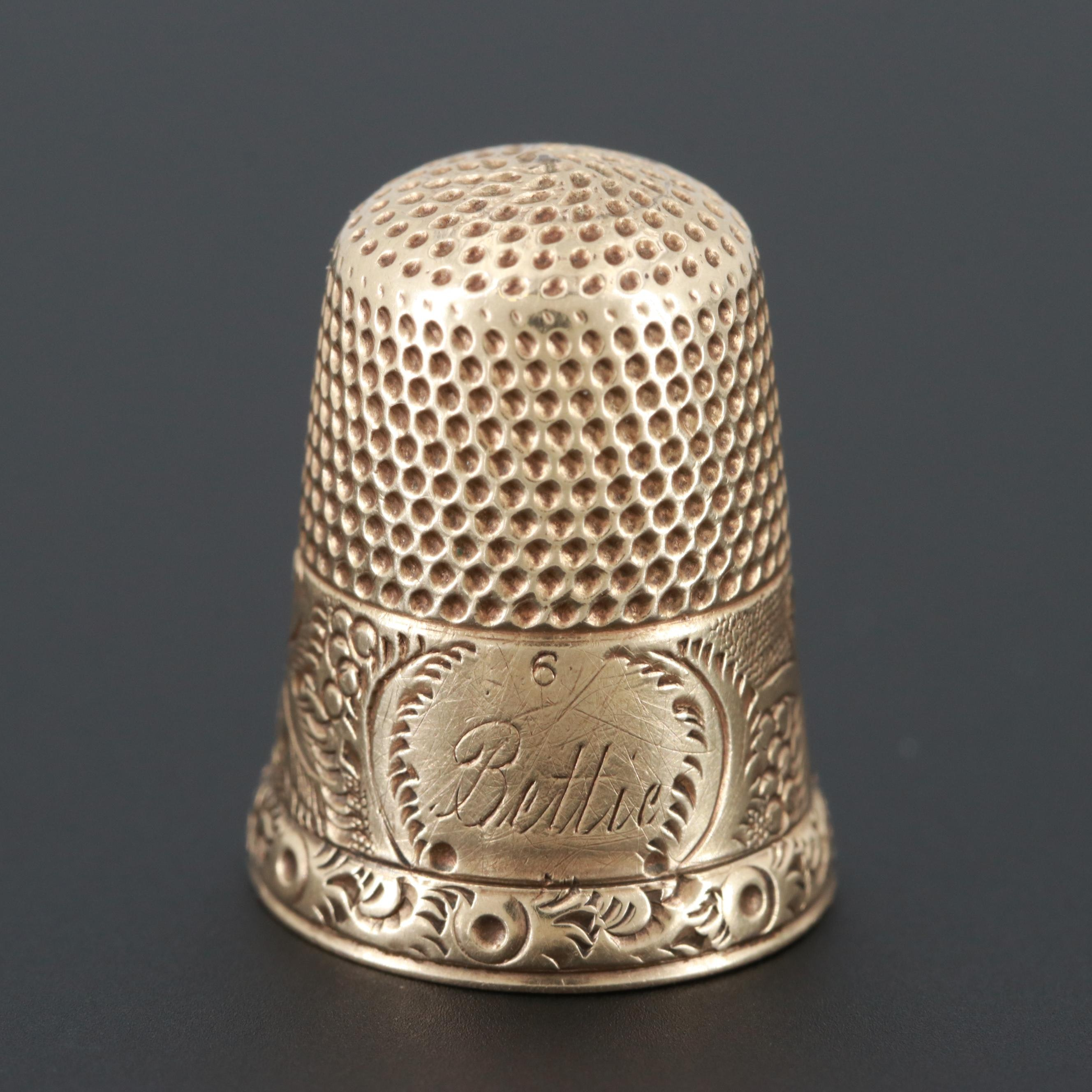 Vintage 14K Yellow Gold Engraved Thimble