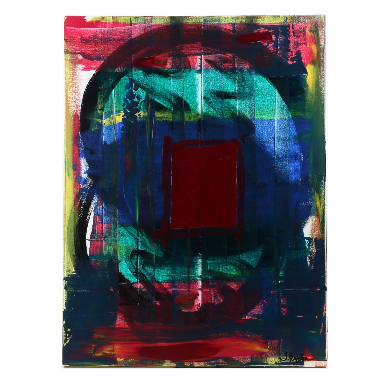 """J. Popolin Abstract Acrylic Painting """"Red Square"""""""