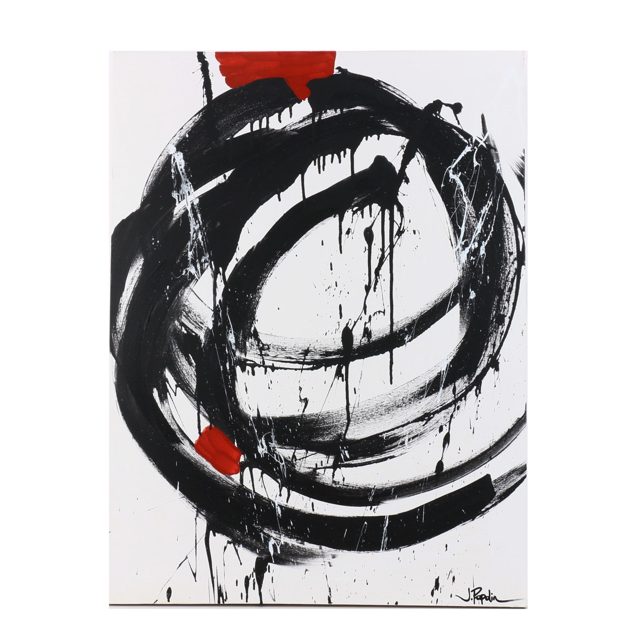 "J. Popolin Abstract Acrylic Painting ""Black with Hints of Red"""
