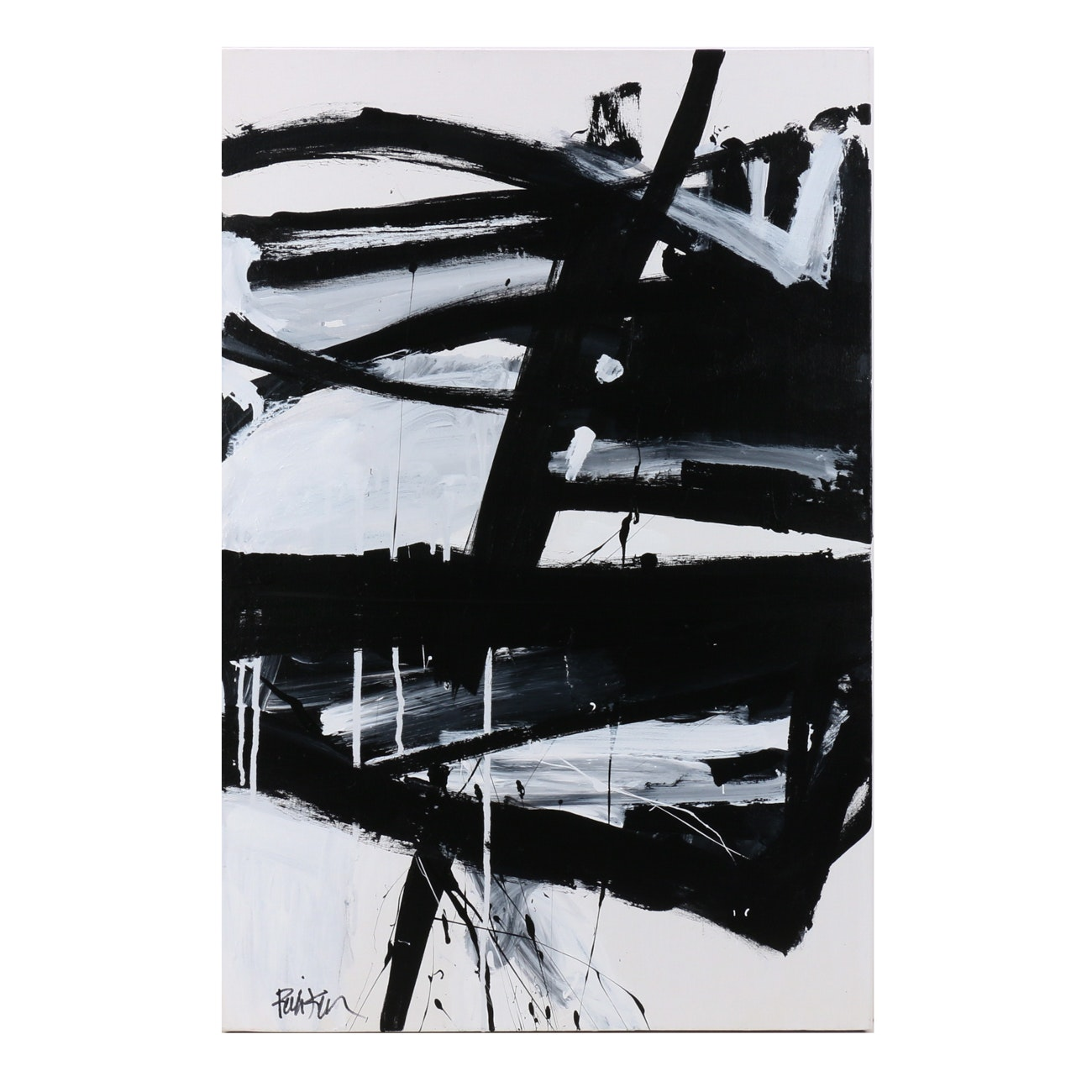 "Robbie Kemper Acrylic Painting ""Black and White Diagonal"""