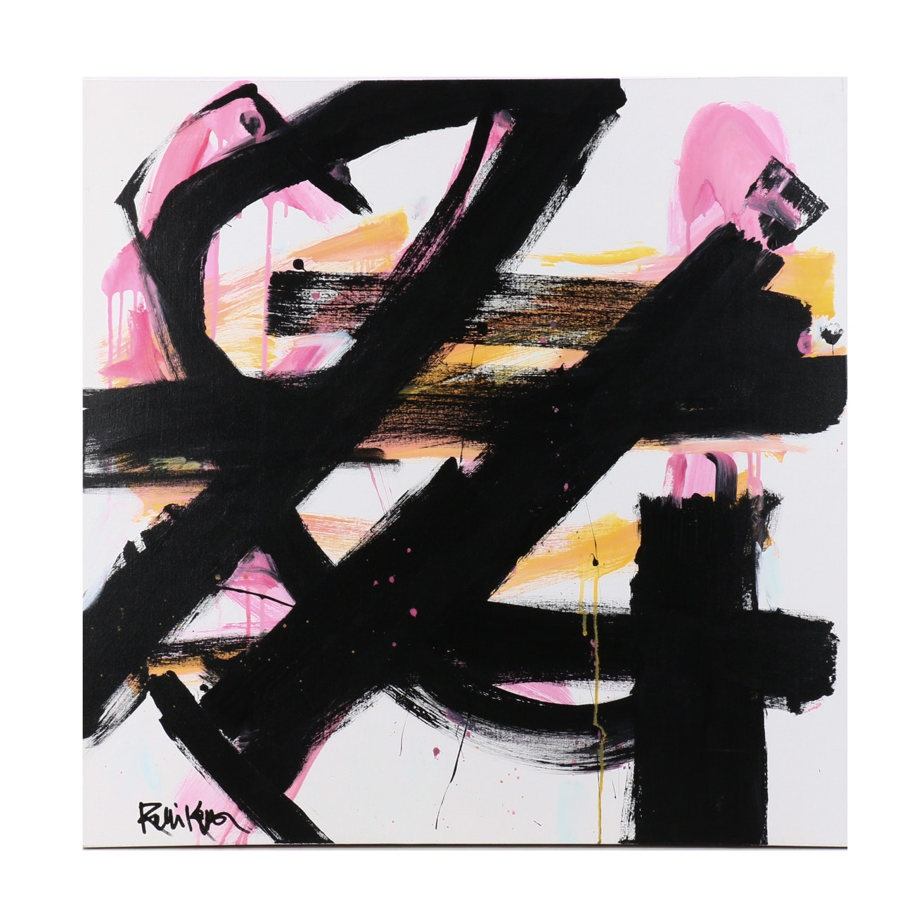 "Robbie Kemper Abstract Acrylic Painting ""Black Strokes Pink Yellow"""