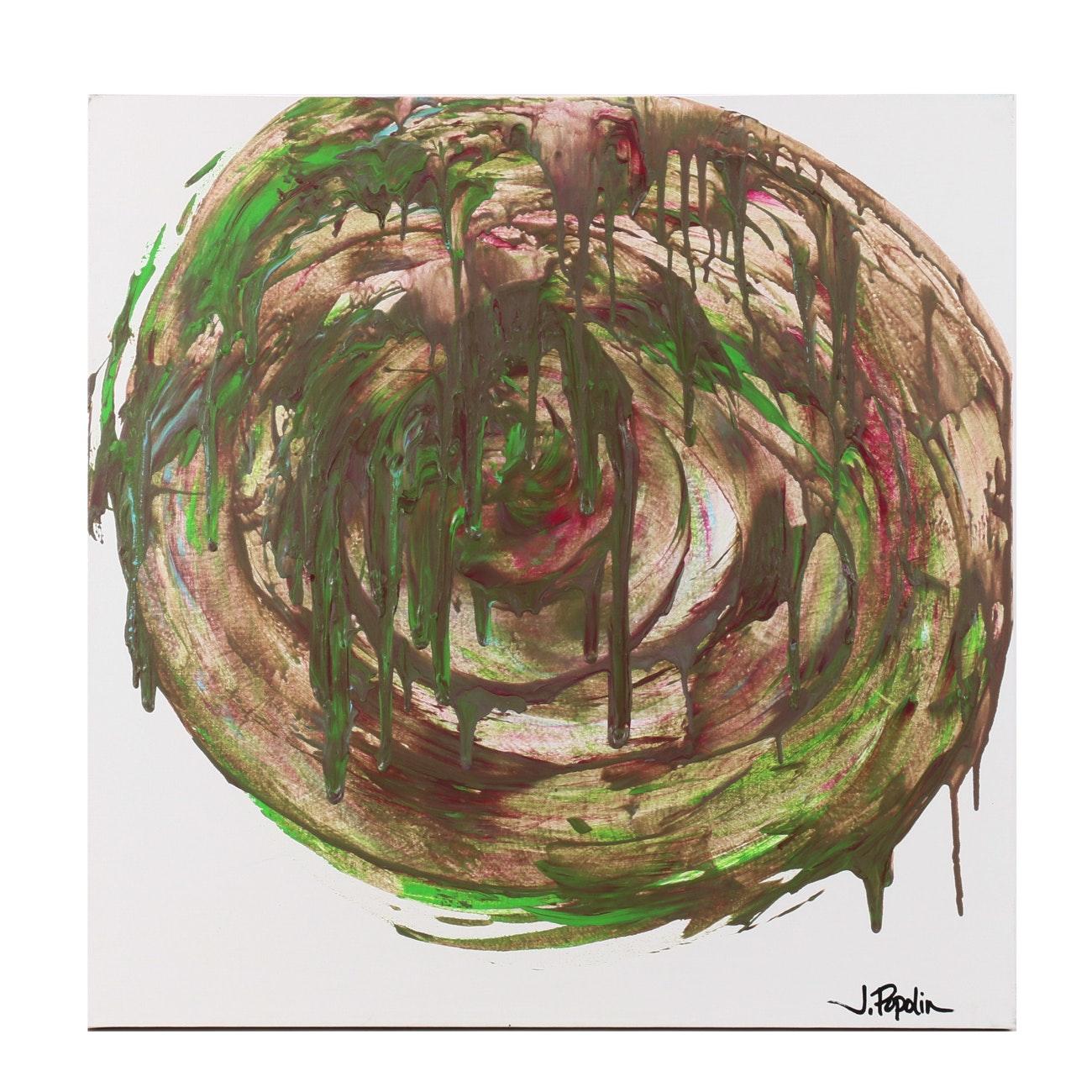 "J. Popolin Acrylic Painting ""Green Pink Circular Wash"""